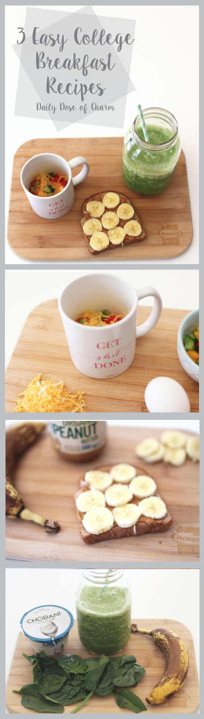 3 Easy College Breakfast ideas on Daily Dose of Charm by Lauren Lindmark