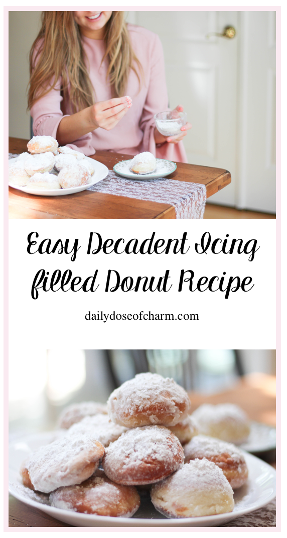 Easy Decadent Icing filled Donut Recipe dailydoseofcharm.com