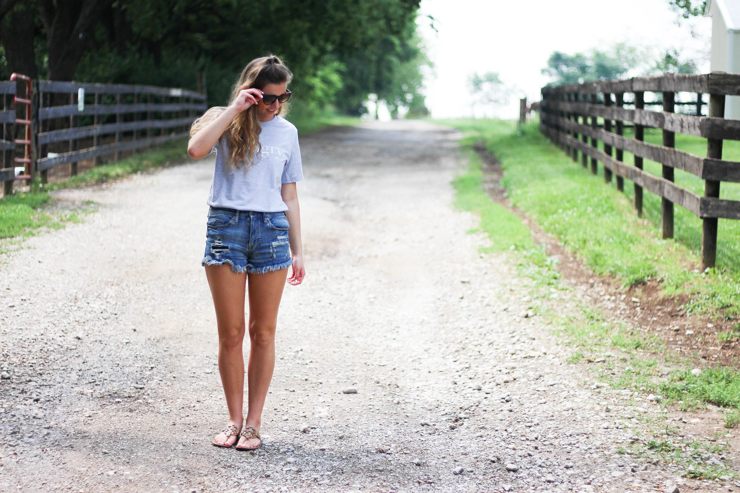HANGRY t-shirt, jean shorts, OOTD, casual outfit, by Lauren Lindmark on Daily Dose of Charm