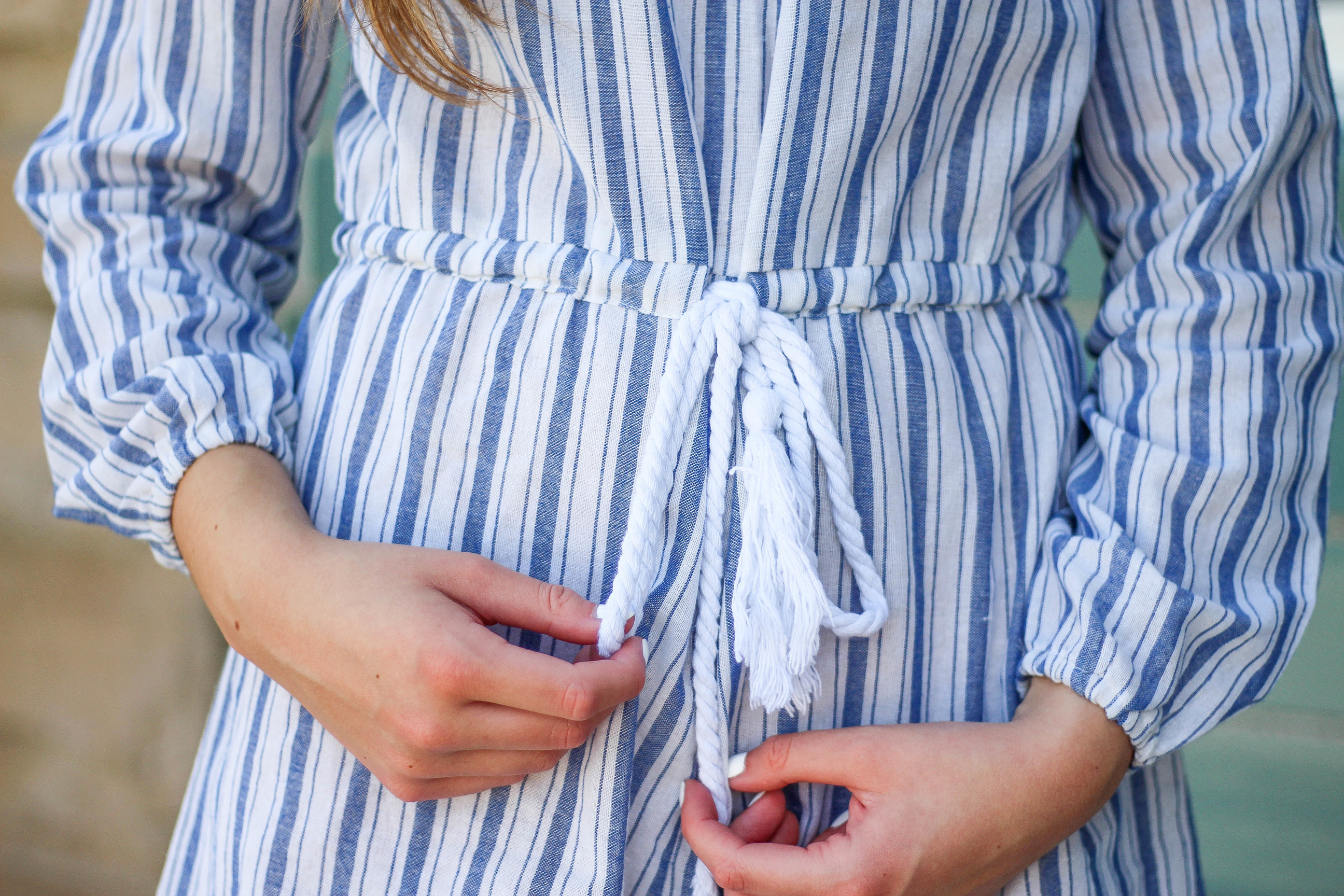 Striped Romper, off the shoulder romper, cute romper, inexpensive romper on daily dose of charm by lauren lindmark