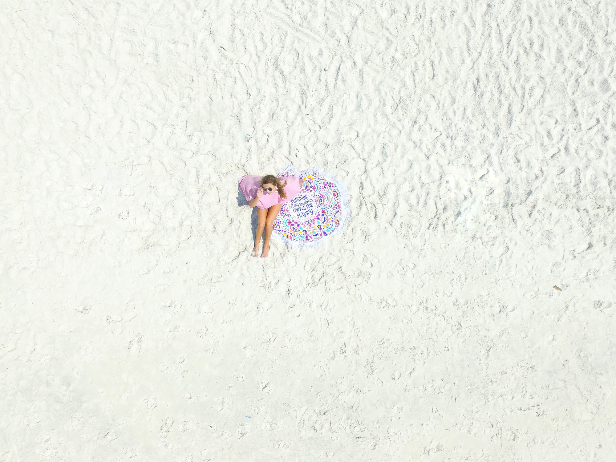 Sunshine on My Shoulders Makes Me Happy beach pom pom cover up OOTD dji phantom 3 drone picture by lauren lindmark on daily dose of charm