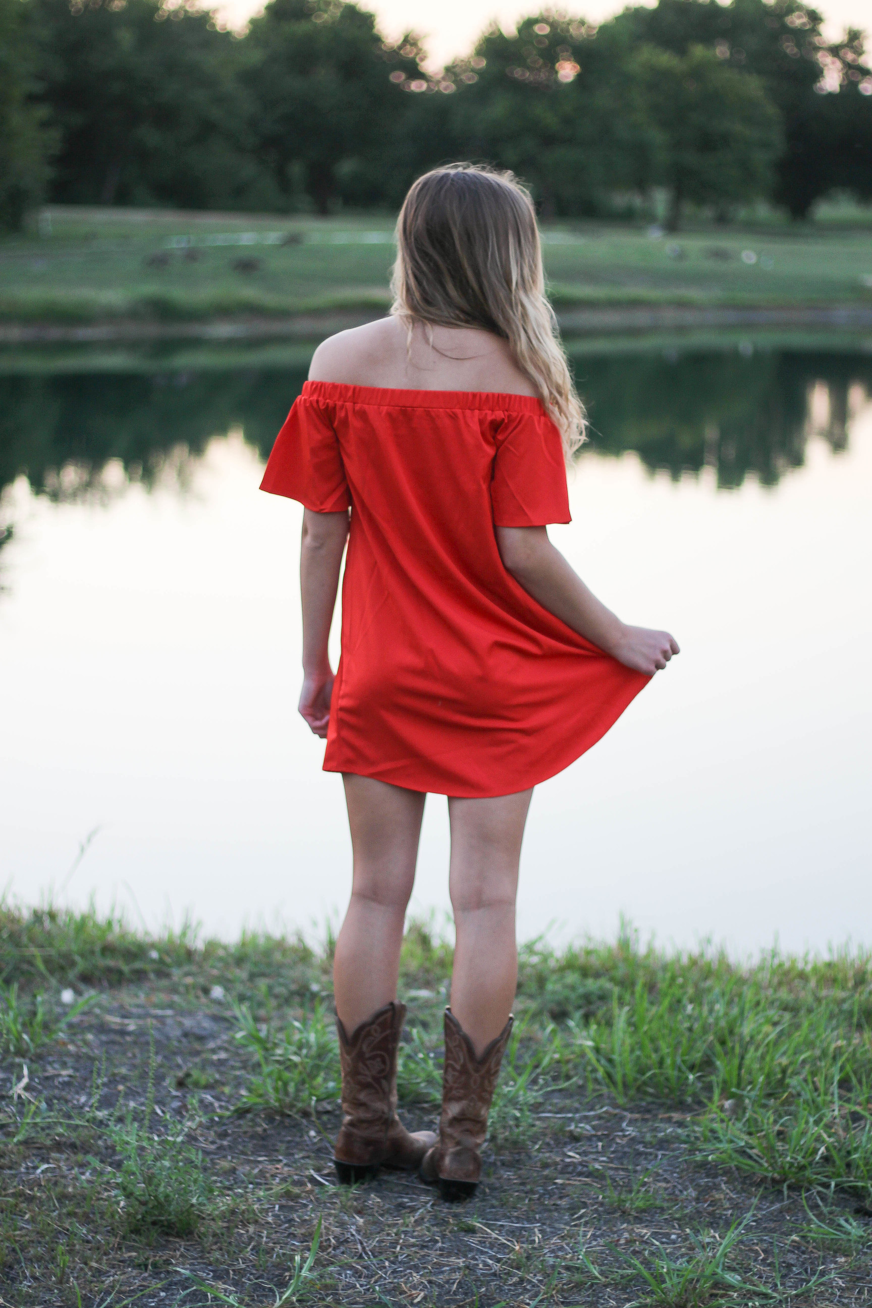Off the shoulder red dress from Romwe by lauren lindmark on daily dose of charm