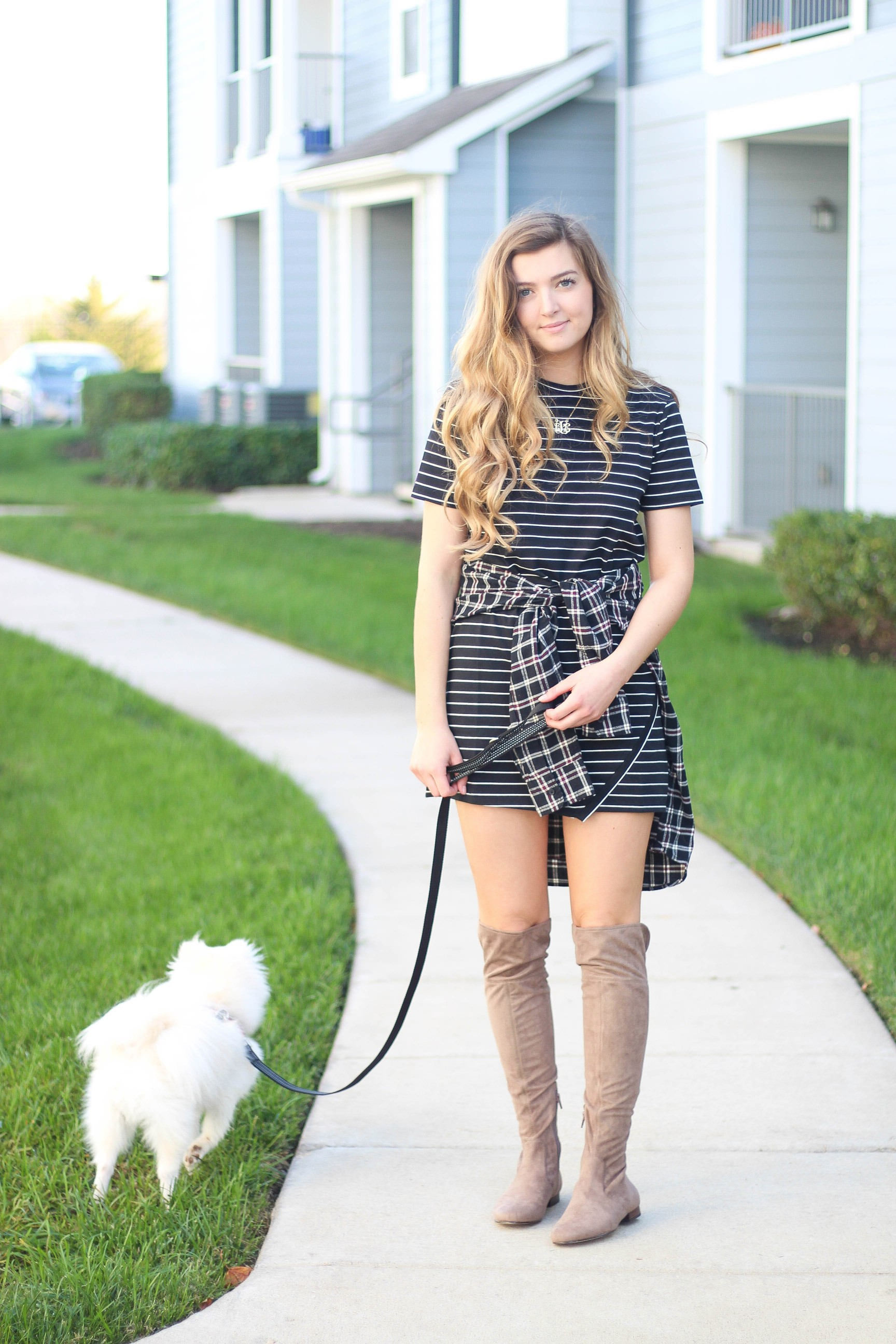 Flannel tied around a dress fall outfit on the blog dailydoseofcharm.com by Lauren Lindmark