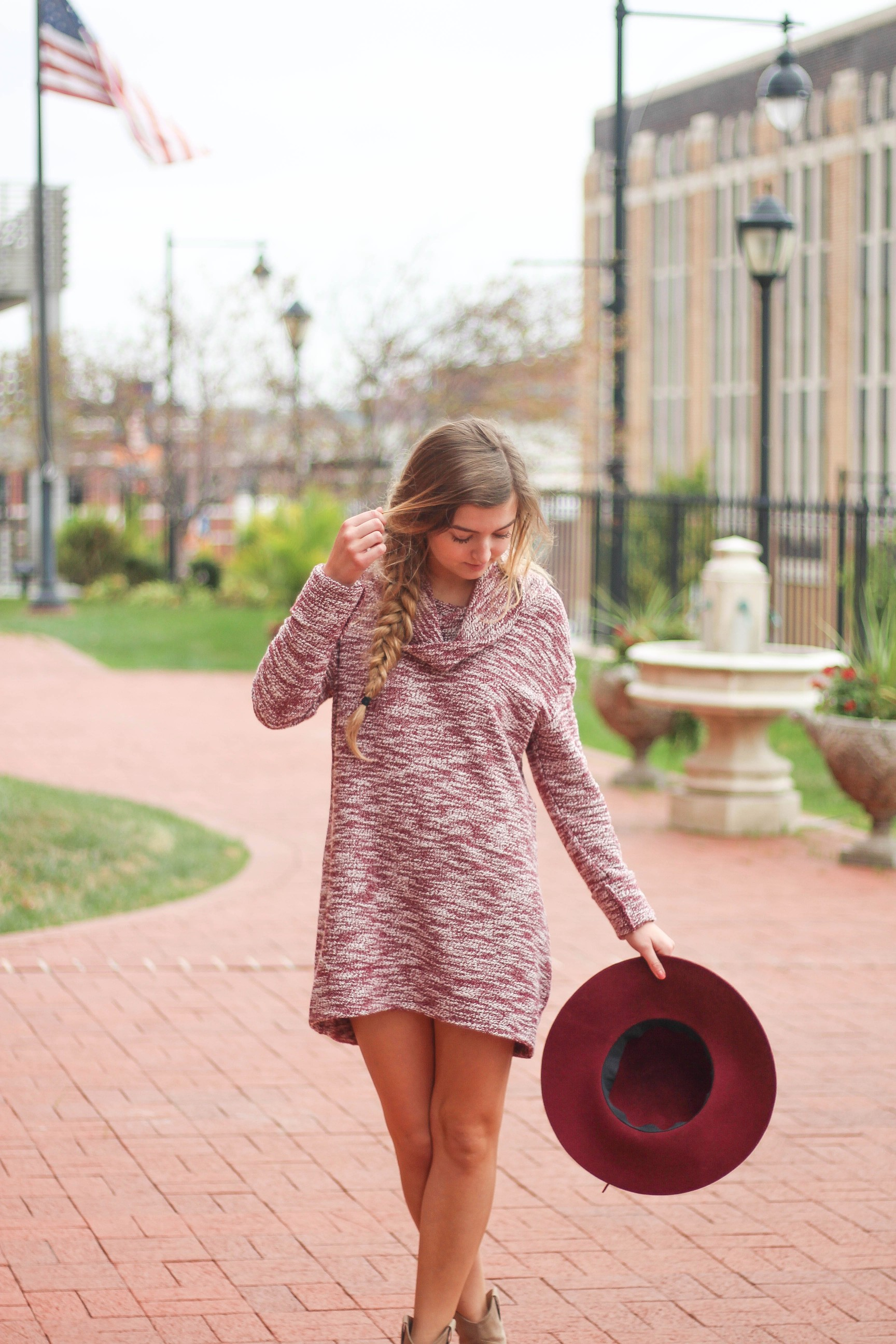 Fall Sweater dress with burgundy her and booties outfit of the day on daily dose of charm by lauren lindmark on dailydoseofcharm.com