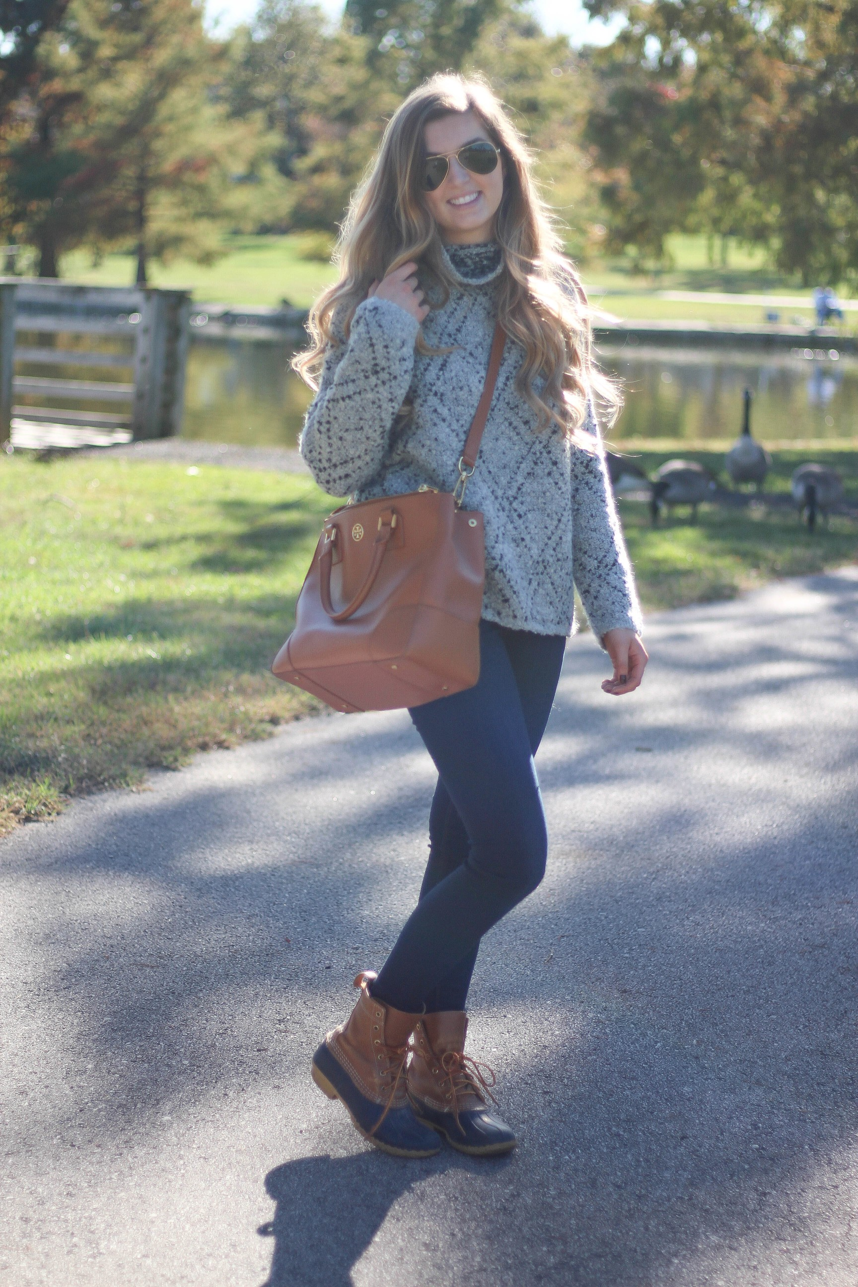 Fall sweater outfit of the day with tory burch tote, ray ban sunglasses, joie sweater, ll bean duck boots, by lauren landmark on daily dose of charm dailydoseofcharm.com (ALL DETAILS ON THE BLOG)