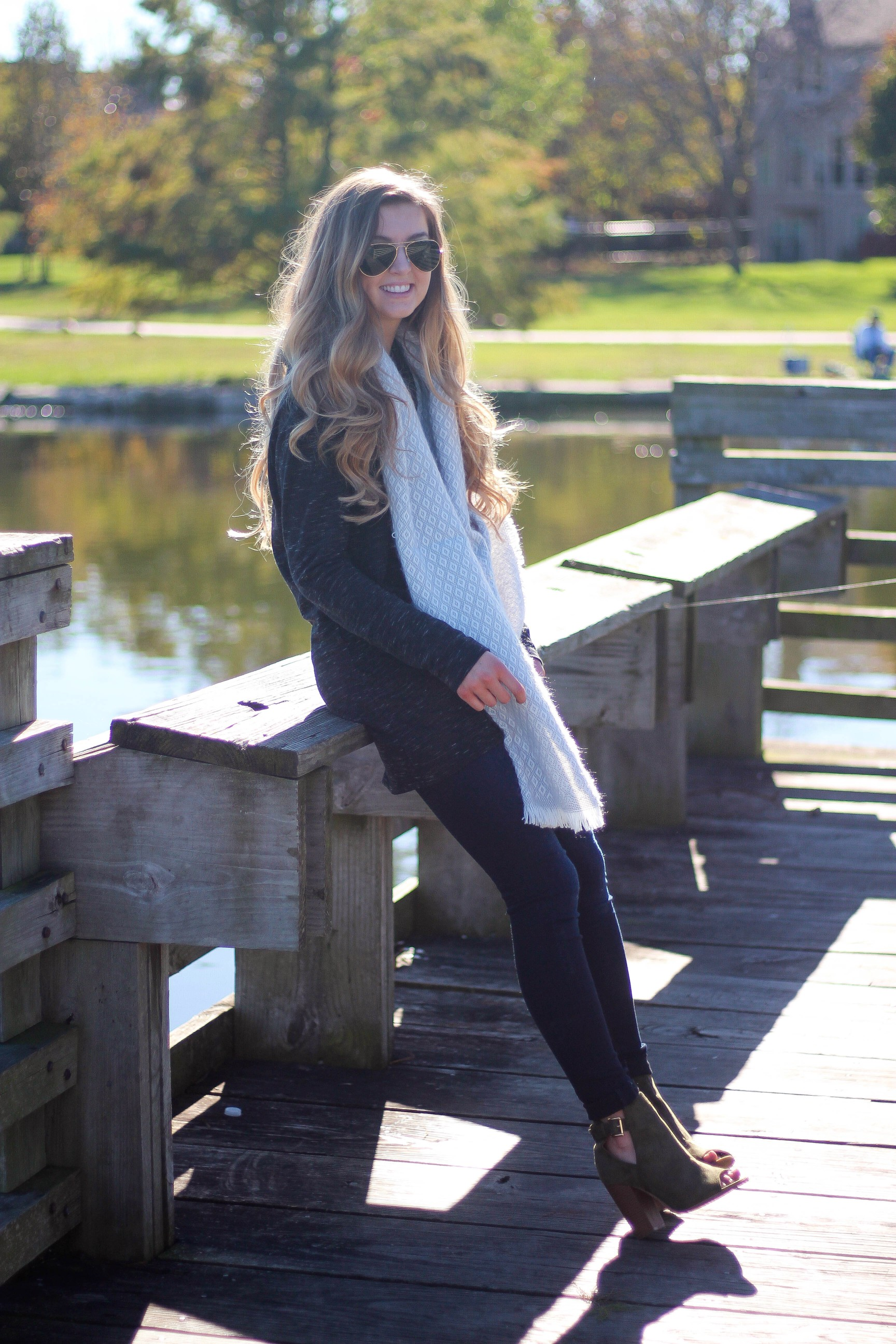 Fall and winter outfit of the day sweater, scarf, booties, ray ban OOTD by lauren lindmark on daily dose of charm ALL DETAILS ON THE BLOG!