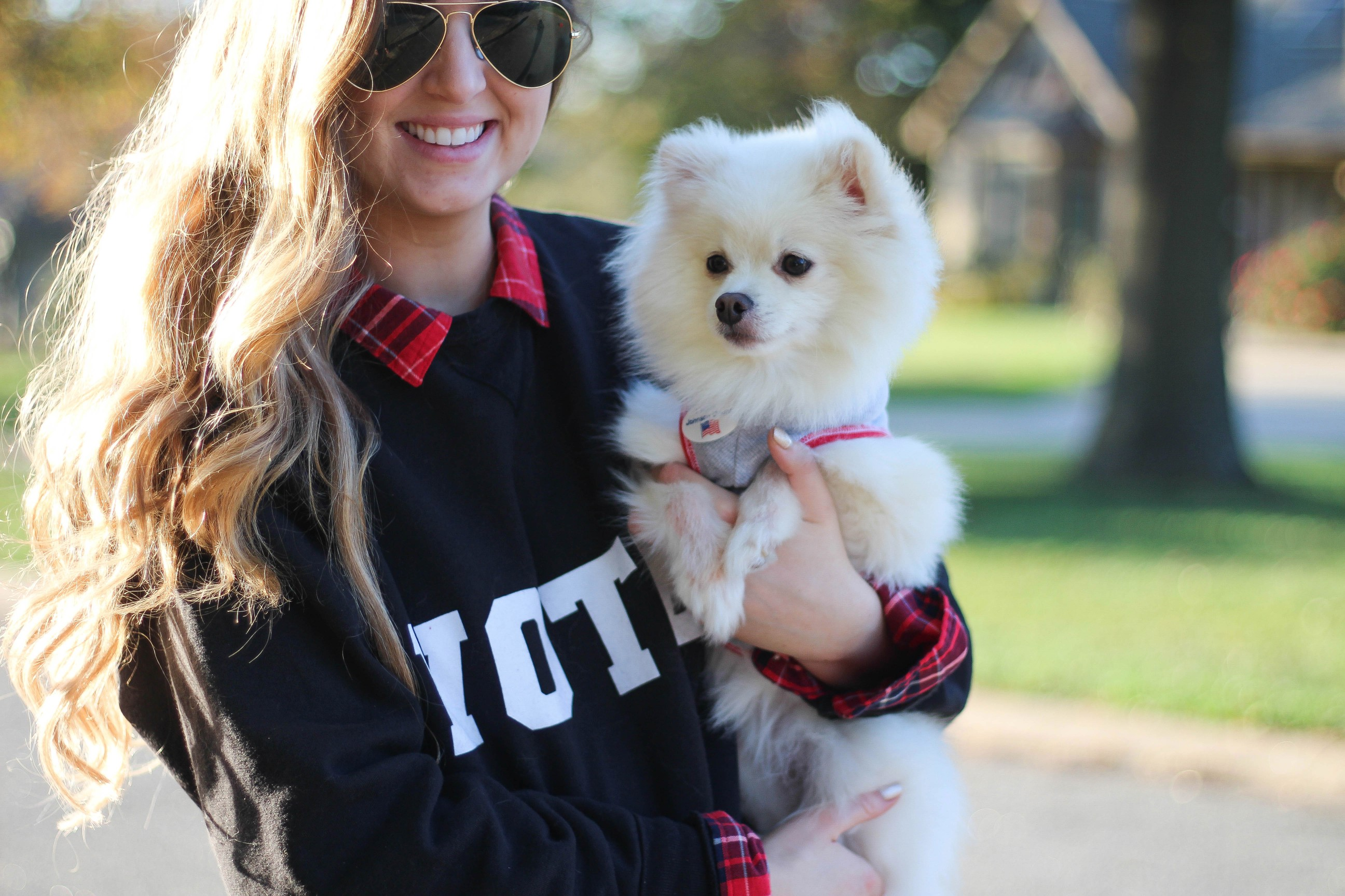 DIY Sweatshirt 2016 election day vote sweatshirt flannel layer outfit pomeranian OOTD outfit by daily dose of charm by lauren lindmark
