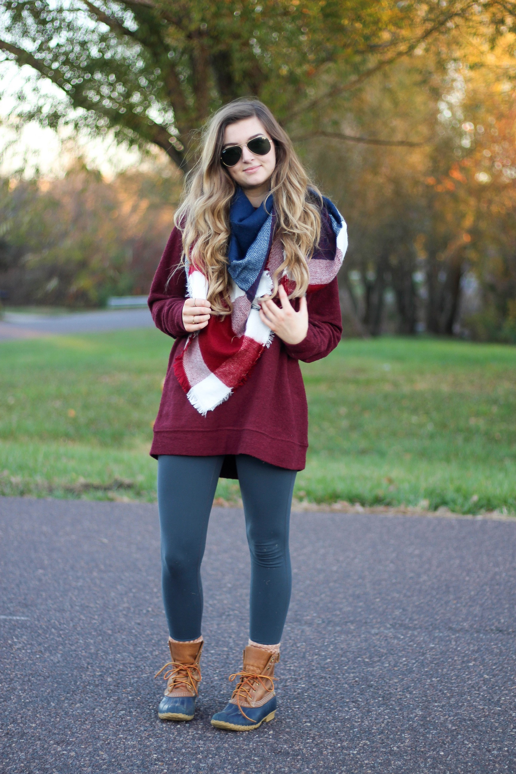 Blanket scarf DISCOUNT CODE and Custom fleece sweatshirt and ll bean duck boots for fall and winter fashion outfit of the day is up on dailydoseofcharm.com daily dose of charm by lauren lindmark