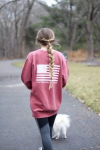 Casual outfits are perfect for chilly days. I love this United Tees American flag sweatshirt! It's so cozy because it's Comfort Colors. I paired it with some Target running leggings and Adidas sneakers! By Lauren Lindmark on dailydoseofcharm.com daily dose of charm