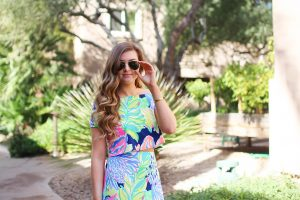 Lilly Pulitzer two piece maxi dress in Navy Travelers Palm. I love everything in the Resort Wear 365 collection this year! I paired this maxi dress with my favorite wedges and gold bangle! By Lauren Lindmark on dailydoseofcharm.com daily dose of charm