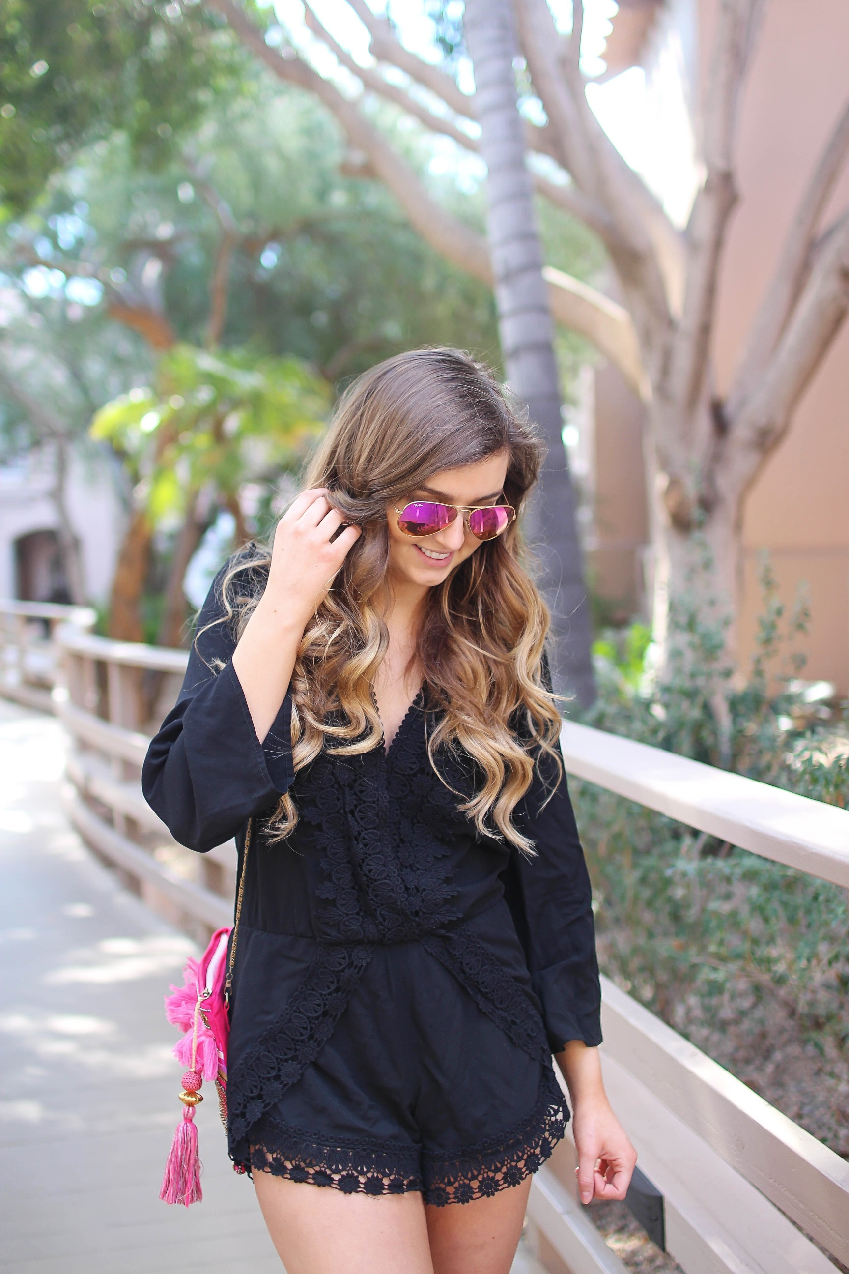 Black romper cover up perfect for spring break and this summer! I love the resort wear trend, so I paired this with a Moroccan style clutch and cute tassel shoes by Sam Edelman. By Lauren Lindmark on Daily Dose of Charm dailydoseofcharm.com