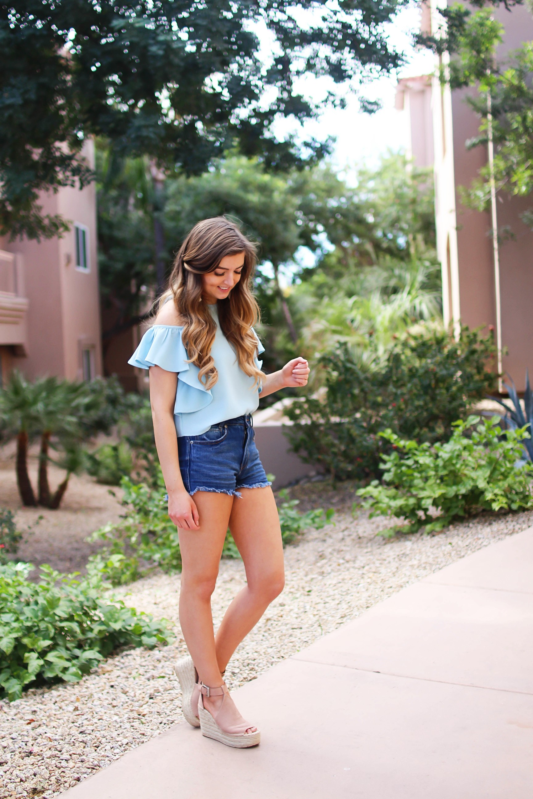 This light blue ruffle cold shoulder top is the cutest thing ever! I can't get enough! I paired it with my favorite jean shorts and these Marc Fisher LTD Annie Perforated Espadrille Platform Wedges! By Lauren Lindmark on Daily Dose of Charm dailydoseofcharm.com