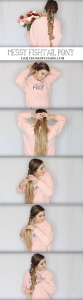 MESSY FISHTAIL PONY! Valentine's Day Hairstyles! Perfect hairstyles for Valentine's Day that are easy and no heat. I love finding cute hairstyles that are no heat hairstyles and easy to do! By Lauren Lindmark on Daily Dose of Charm dailydoseofcharm.com