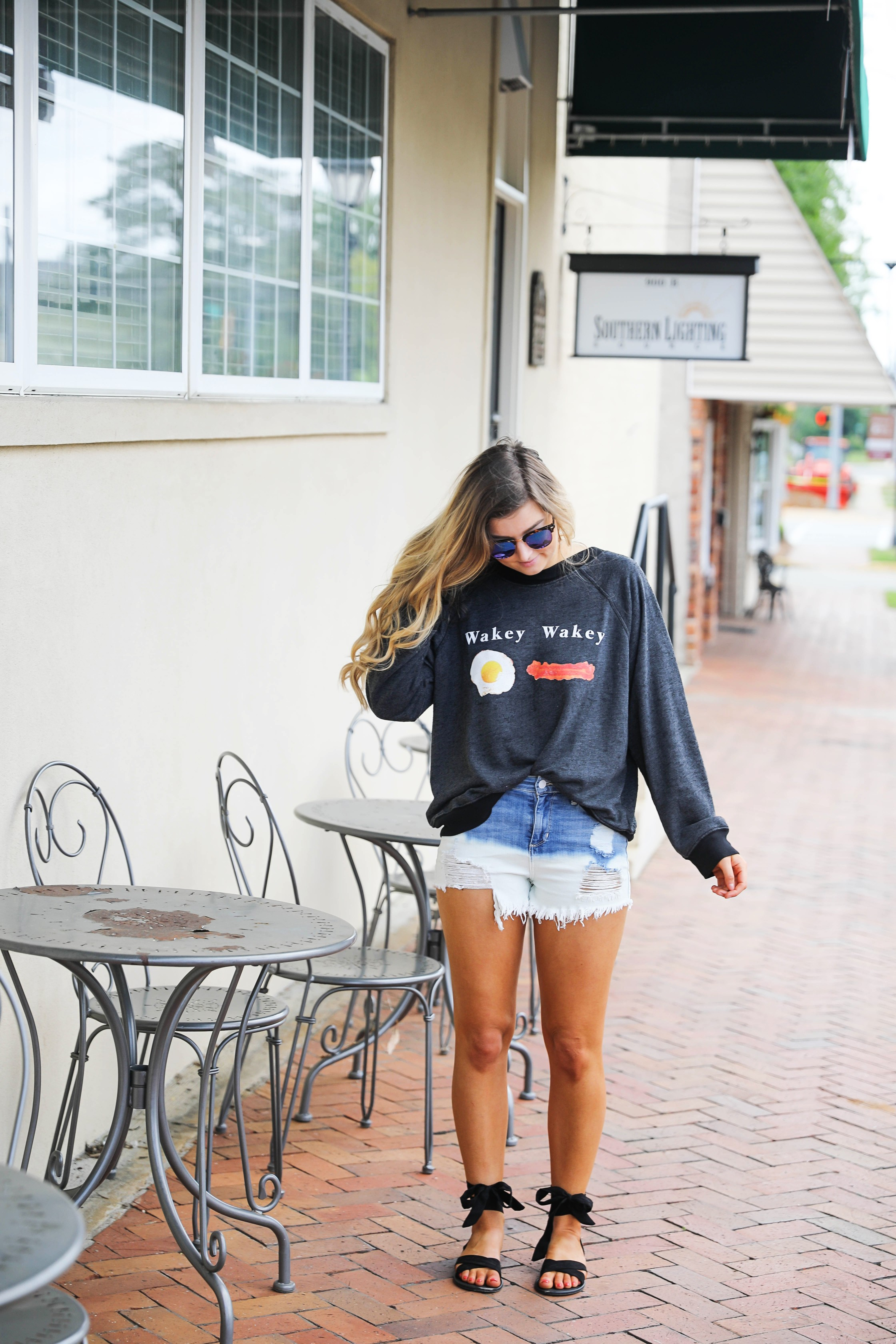 Wakey wakey eggs and bacon Wild Fox sweatshirt tee styled on Daily Dose of Charm by Lauren Lindmark dailydoseofcharm.com