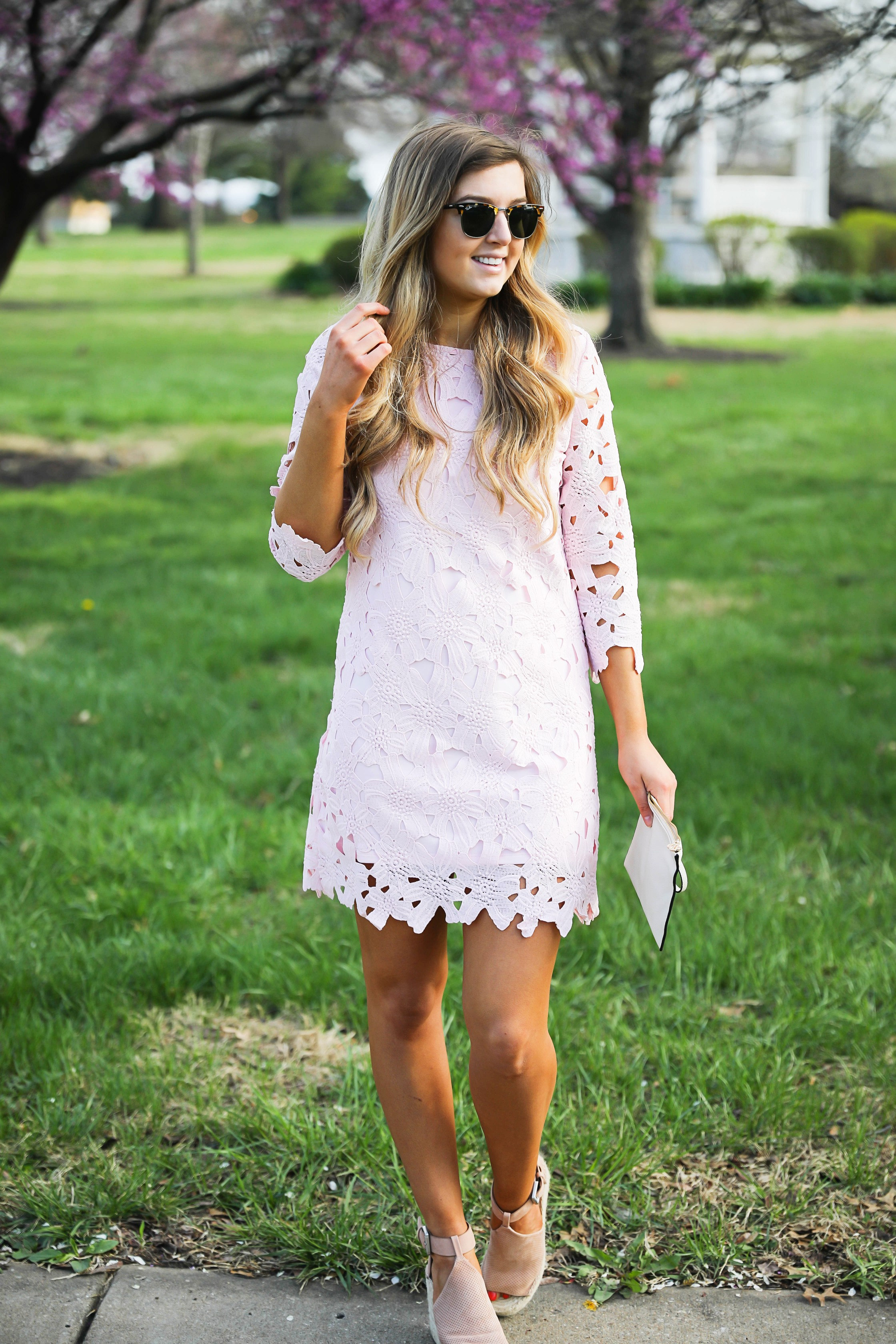 The cutest Easter dress for spring! I love dresses in spring! This light pink lace dress is my favorite dress I own. Find in on the fashion blog Daily Dose of Charm by Lauren Lindmark dailydoseofcharm.com