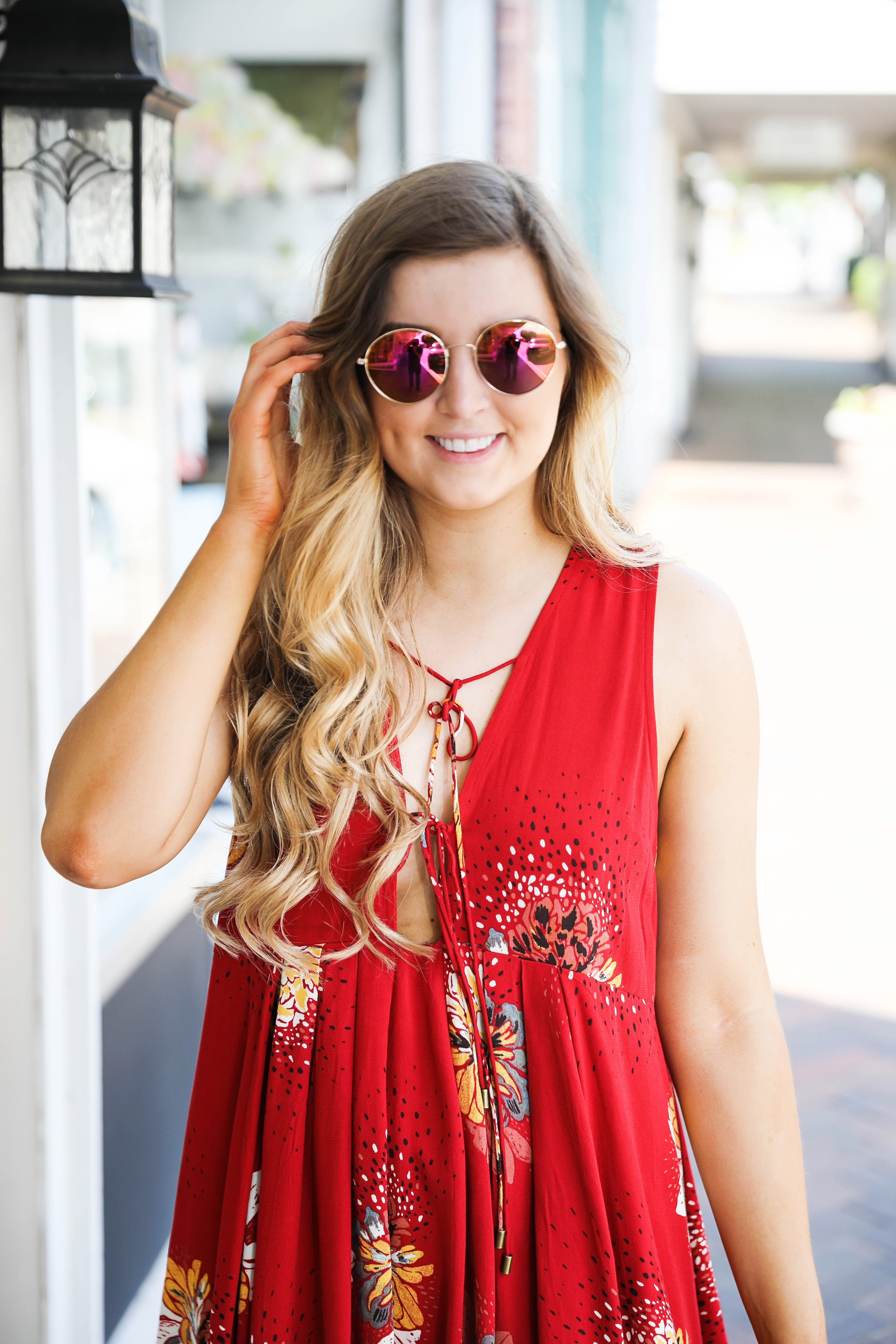 Free People Coachella Inspired Dress with Fun $12 Sunglasses! Cute spring fashion! by Lauren Lindmark on Daily Dose of Charm dailydoseofcharm.com