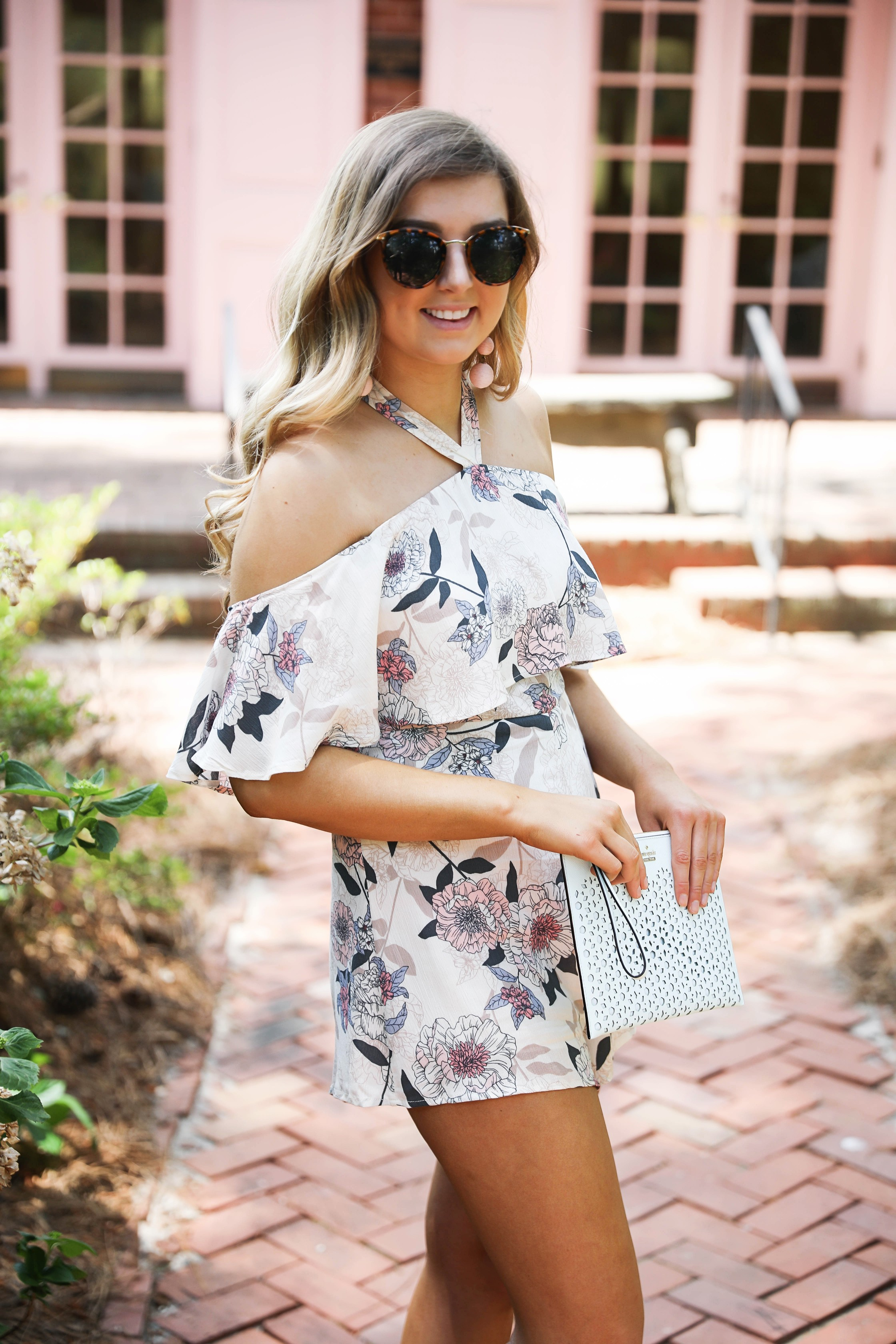 Garden romper. The cutest off the shoulder tied romper for spring and summer outfit ideas. by Lauren Lindmark on daily dose of charm dailydoseofcharm.com