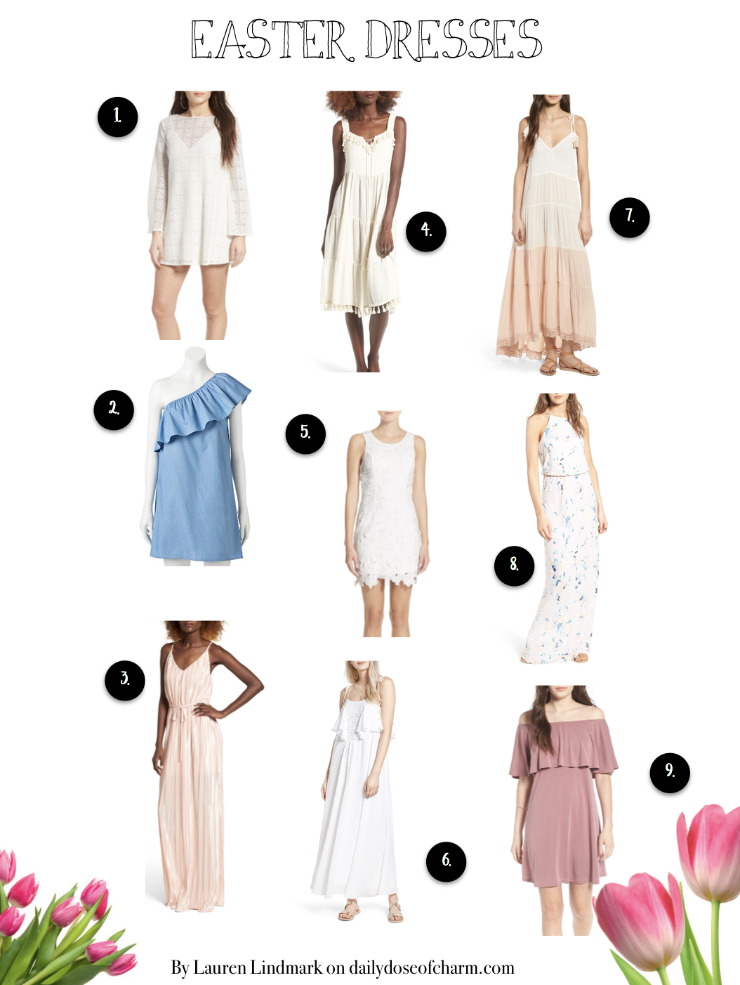 Easter dresses and top that are perfect for all of spring! Check out the fashion blog Daily Dose of Charm by Lauren Lindmark on dailydoseofcharm.com for Spring Easter dresses and tops!