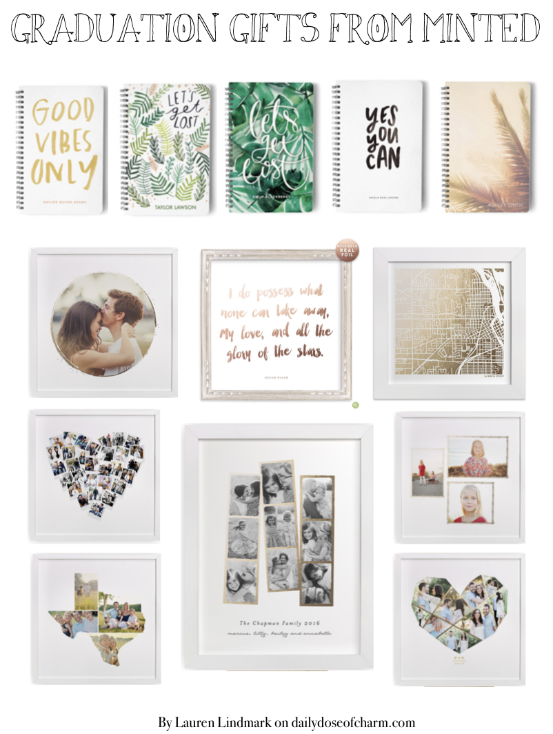 Graduation Gift Ideas with Minted.com Minted has so many cute gifts especially for graduation season! Check them out on the fashion blog daily dose of charm by Lauren Lindmark