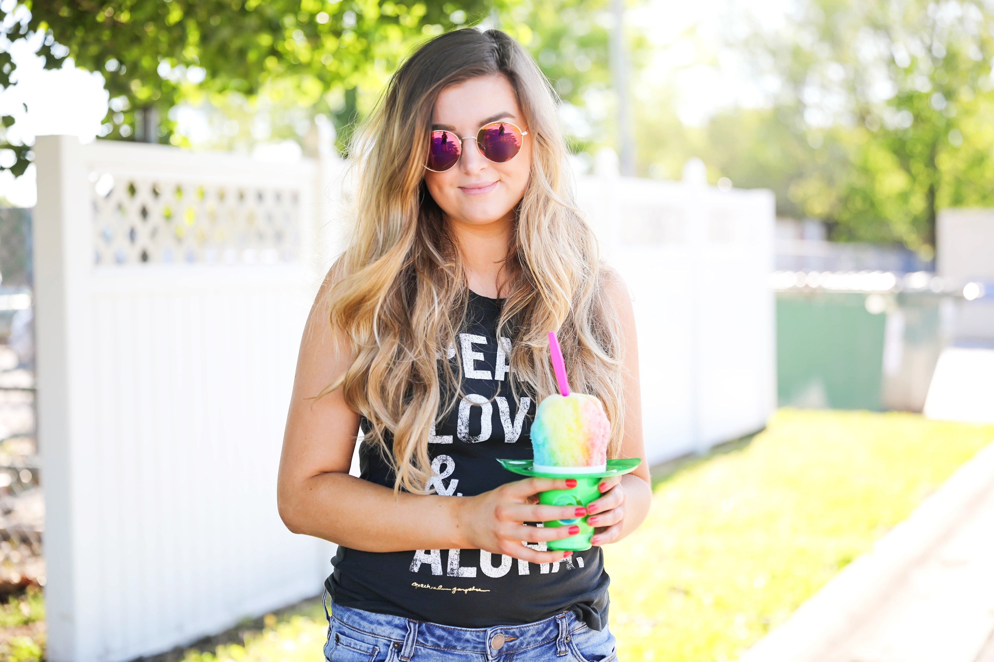 Aloha Summer Spiritual Gangster Top with snow cone by fashion blogger Lauren Lindmark on fashion blog daily dose of charm dailydoseofcharm.com