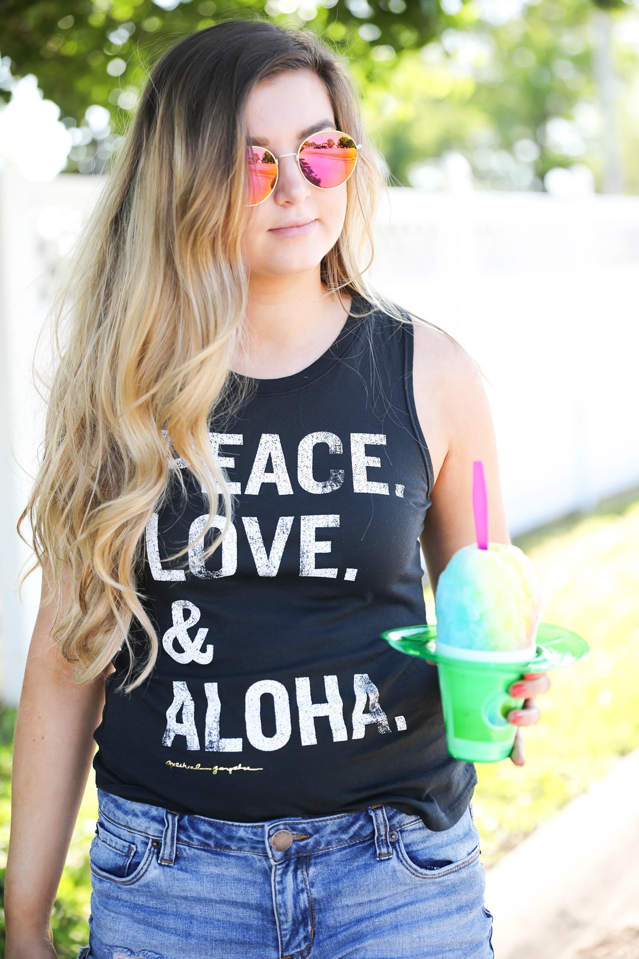 Aloha Summer Spiritual Gangster Top with snow cone by fashion blogger Lauren Lindmark on fashion blog daily dose of charm dailydoseofcharm.com