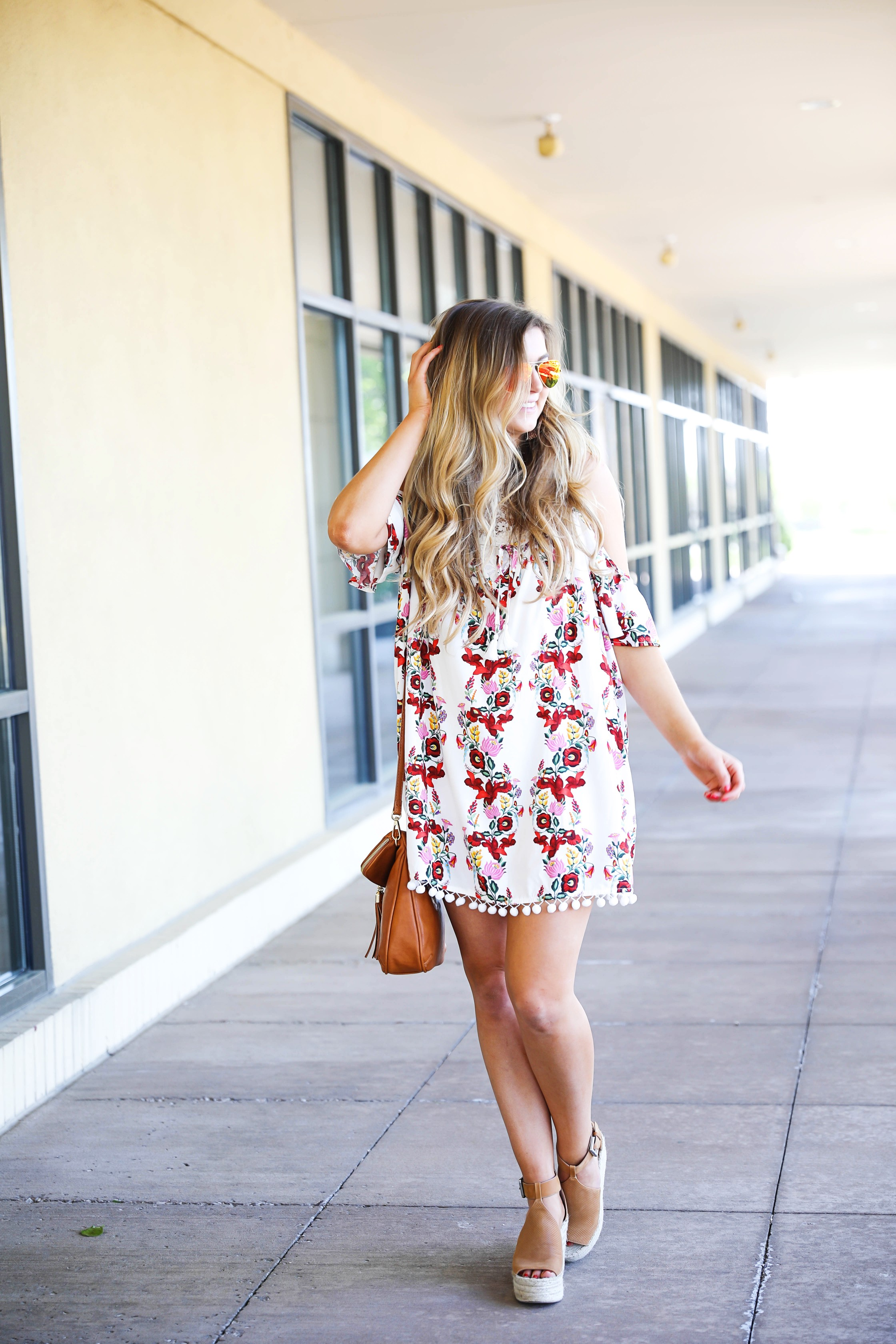 Floral MuMu Romper with lace bralette on Fashion Blog Daily Dose of Charm by Lauren Lindmark