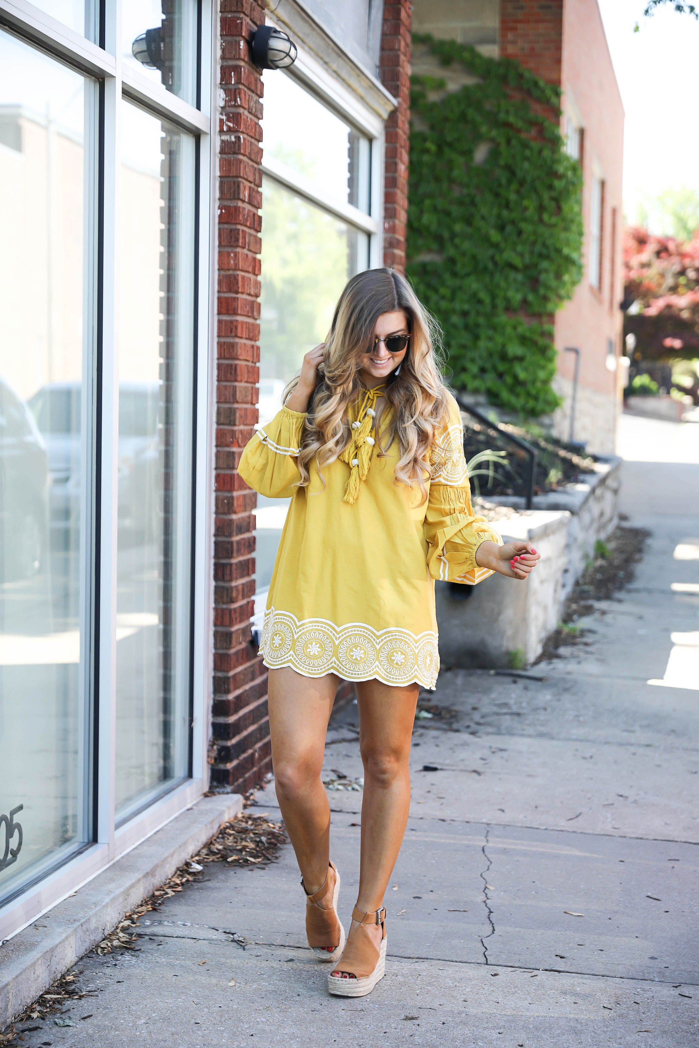 Fun yellow and white embroidered dress on fashion blog daily dose of charm by lauren lindmark dailydoseofcharm.com