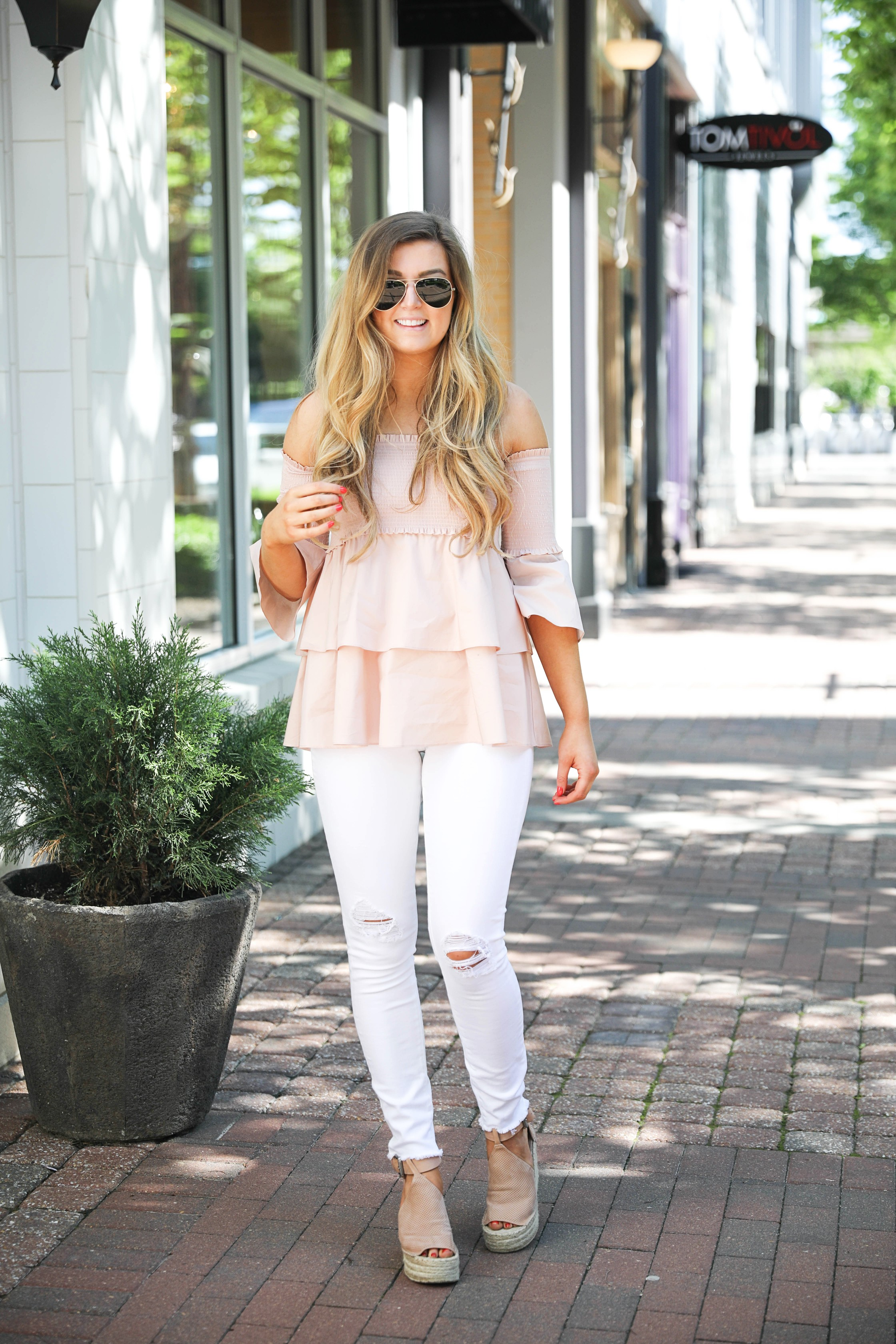 Off the shoulder smock top with the best white jeans by fashion blogger Lauren Lindmark on daily dose of charm