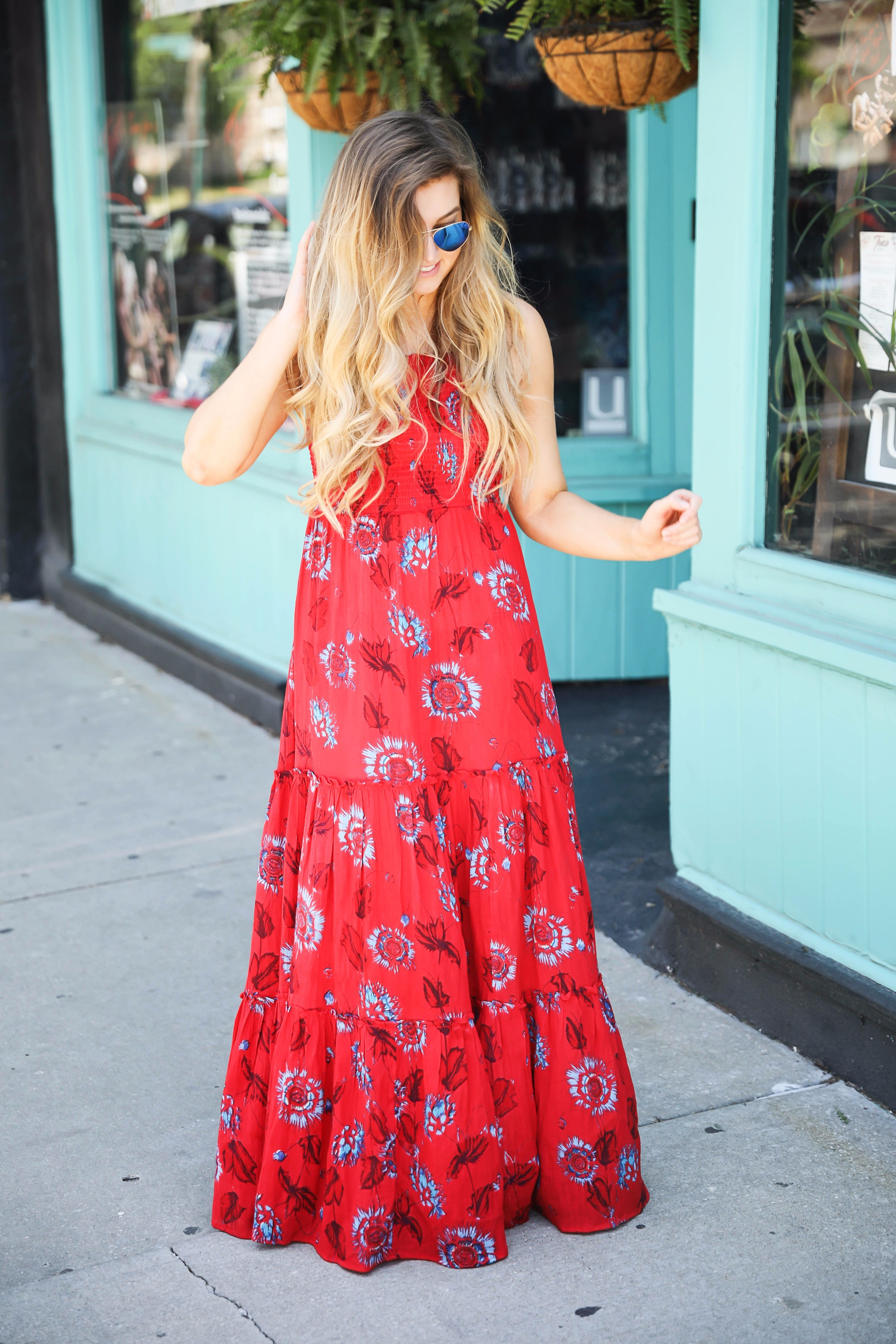 Free people red tie back maxi dress for summer and fourth of July outfit by lauren lindmark on daily dose of charm lauren lindmark
