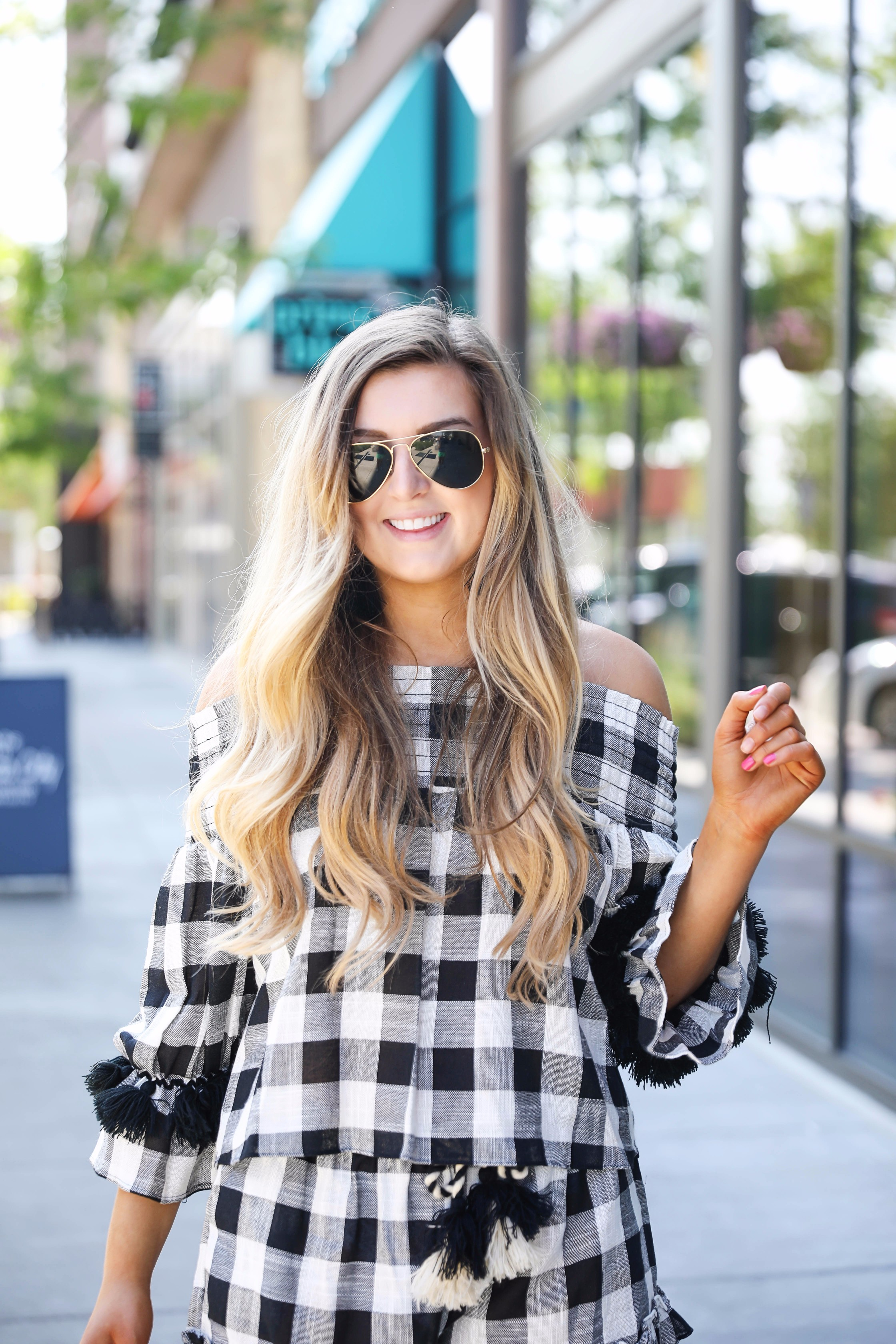 Black and white plaid gingham tassel set summer outfit idea by fashion blogger daily dose of charm by lauren lindmark
