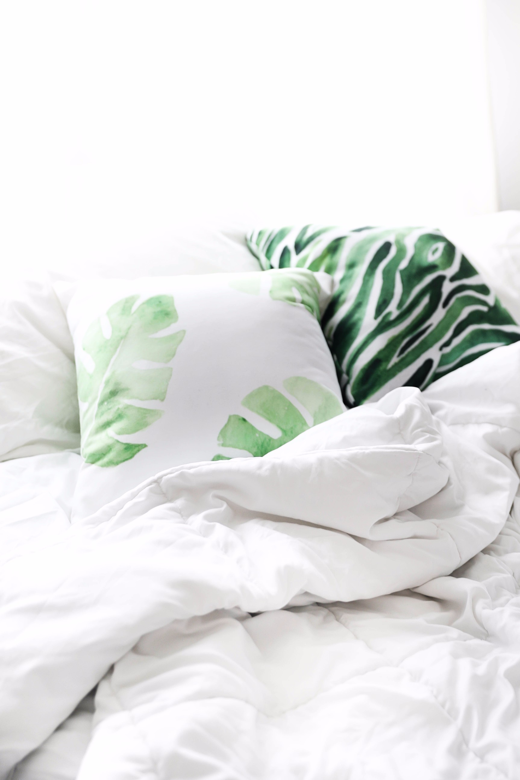 Palm leaf pillows June favorites by fashion and lifestyle blogger lauren lindmark on daily dose of charm