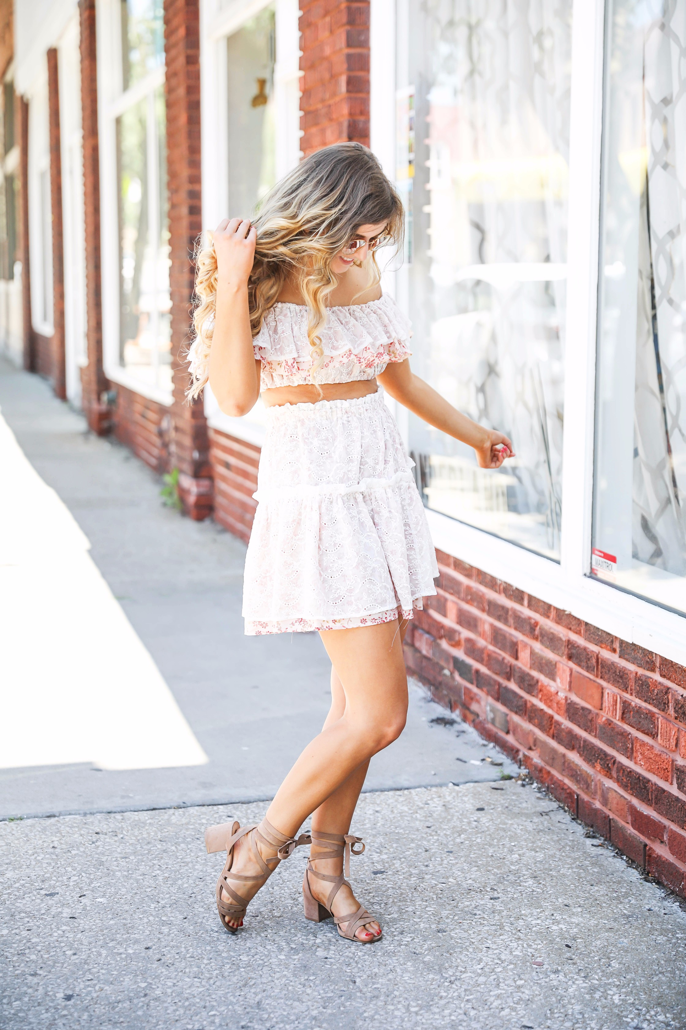 Pink lace ruffle off the shoulder two piece by fashion blogger daily dose of charm lauren lindmark
