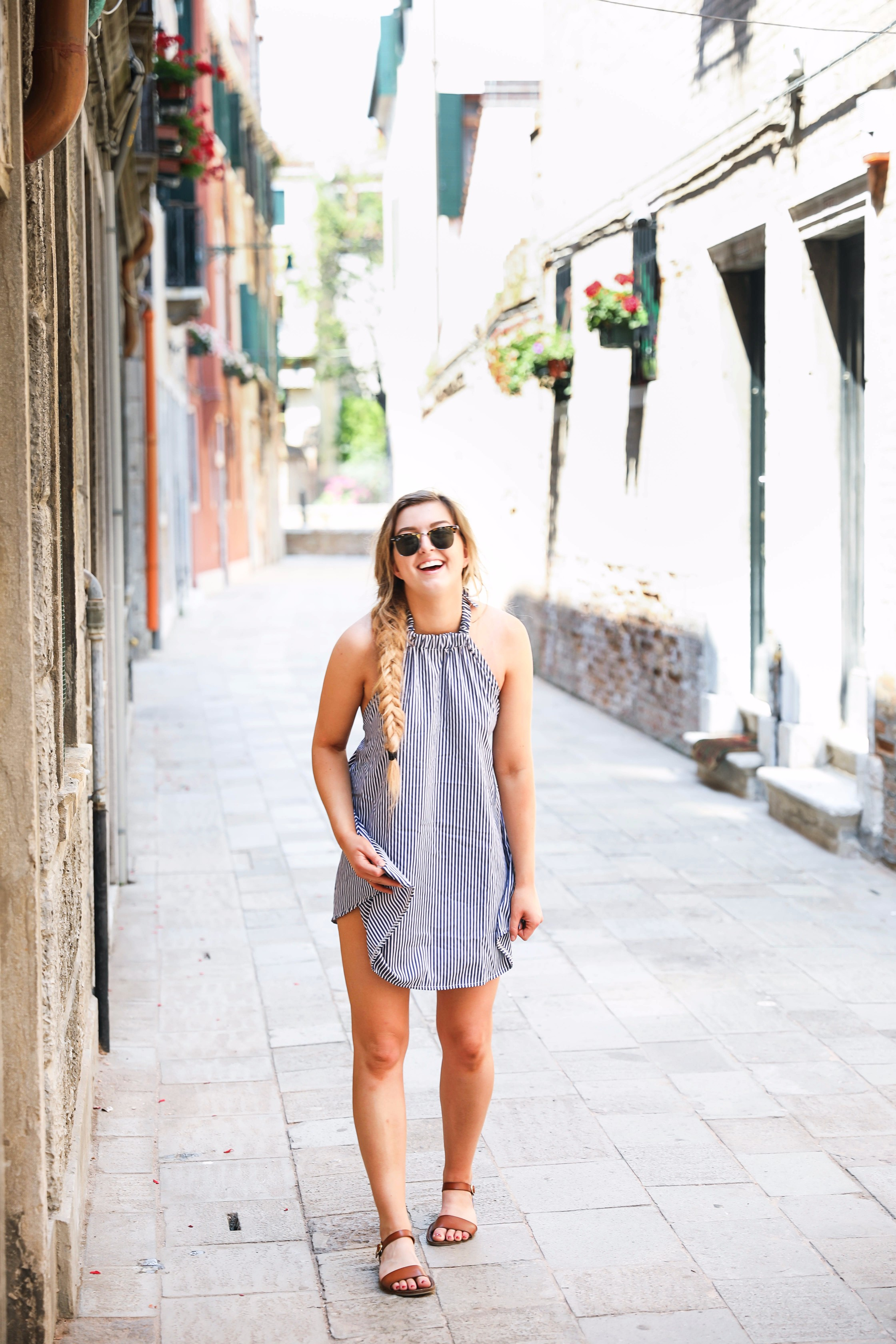 Venice, Italy trip and striped halter dress by lauren lindmark fashion blog daily dose of charm