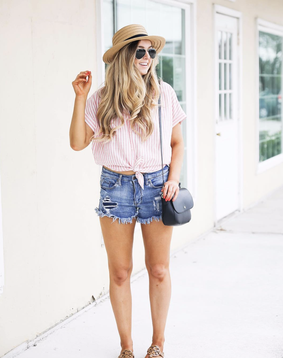 Striped tied top with cute hat on June Instagram Roundup 2017 on fashion Instagram @dailydoseofcharm by fashion blogger daily dose of charm AKA lauren lindmark