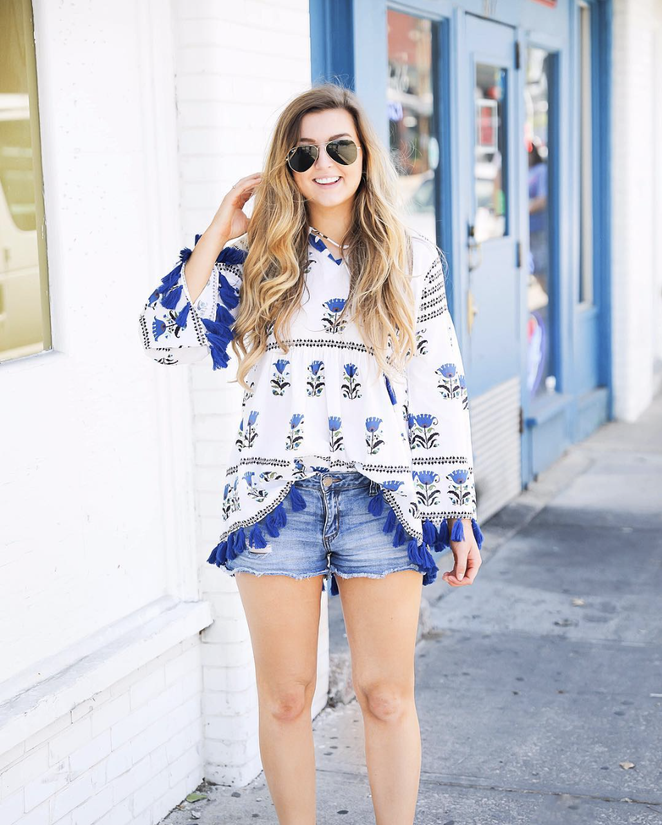 Blue tassel tunic on June Instagram Roundup 2017 on fashion Instagram @dailydoseofcharm by fashion blogger daily dose of charm AKA lauren lindmark