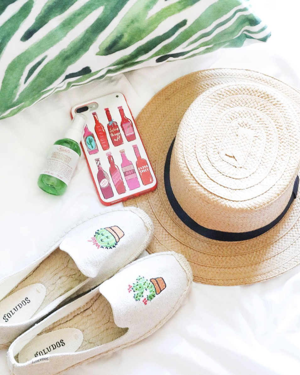 Kiehls cactus spray, soludos cactus sandals, hat, Kate Spade hot sauce phone case, palm leaf pillow on June Instagram Roundup 2017 on fashion Instagram @dailydoseofcharm by fashion blogger daily dose of charm AKA lauren lindmark