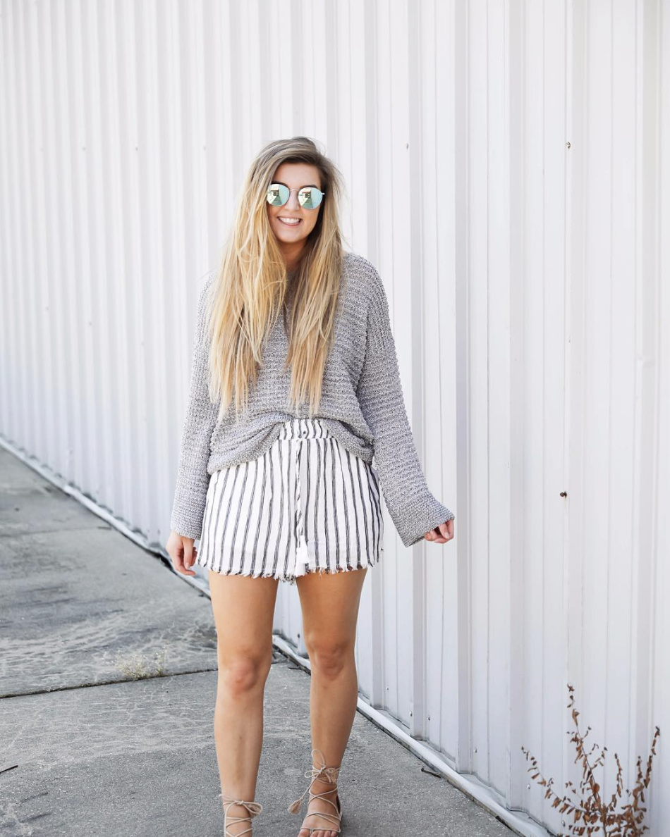 Open back sweater with nautical shorts on June Instagram Roundup 2017 on fashion Instagram @dailydoseofcharm by fashion blogger daily dose of charm AKA lauren lindmark