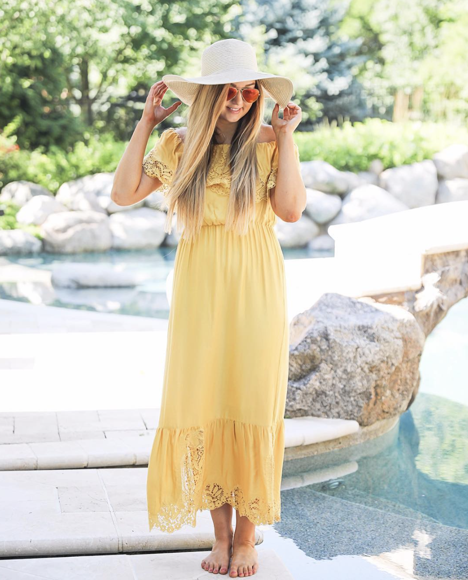 Yellow sundress with red ray ban aviators and Nordstrom BP c'est la vie hat on June Instagram Roundup 2017 on fashion Instagram @dailydoseofcharm by fashion blogger daily dose of charm AKA lauren lindmark
