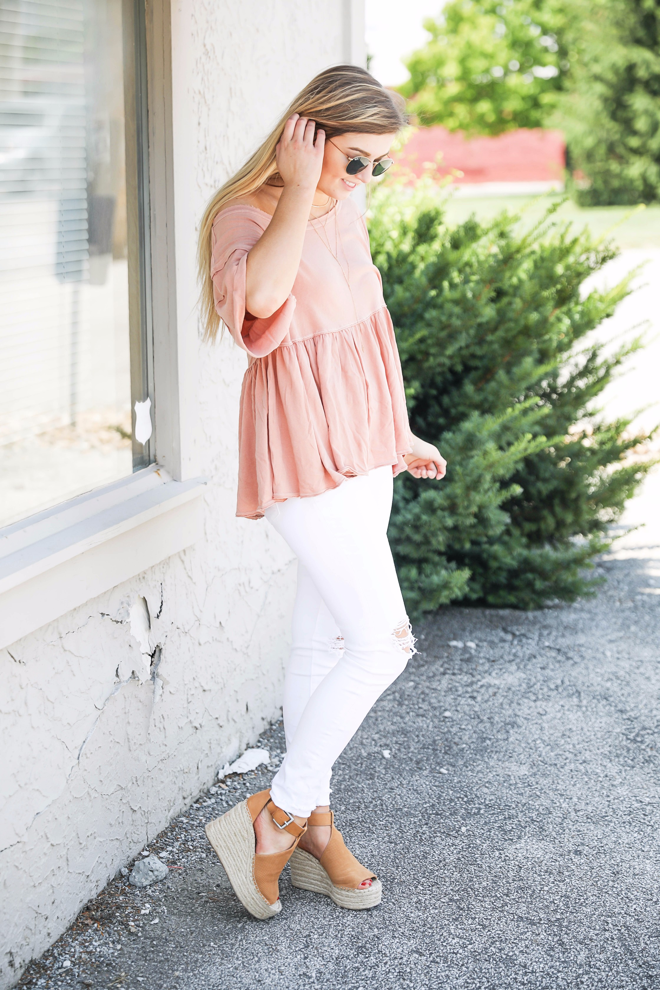 Nude free people slouchy off the shoulder tee paired with white jeans and wedges on fashion blog daily dose of charm by lauren lindmark
