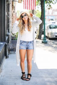 Striped black and white cardigan with white lace body suit and hat with red tassel earrings on fashion blog daily dose of charm by lauren lindmark