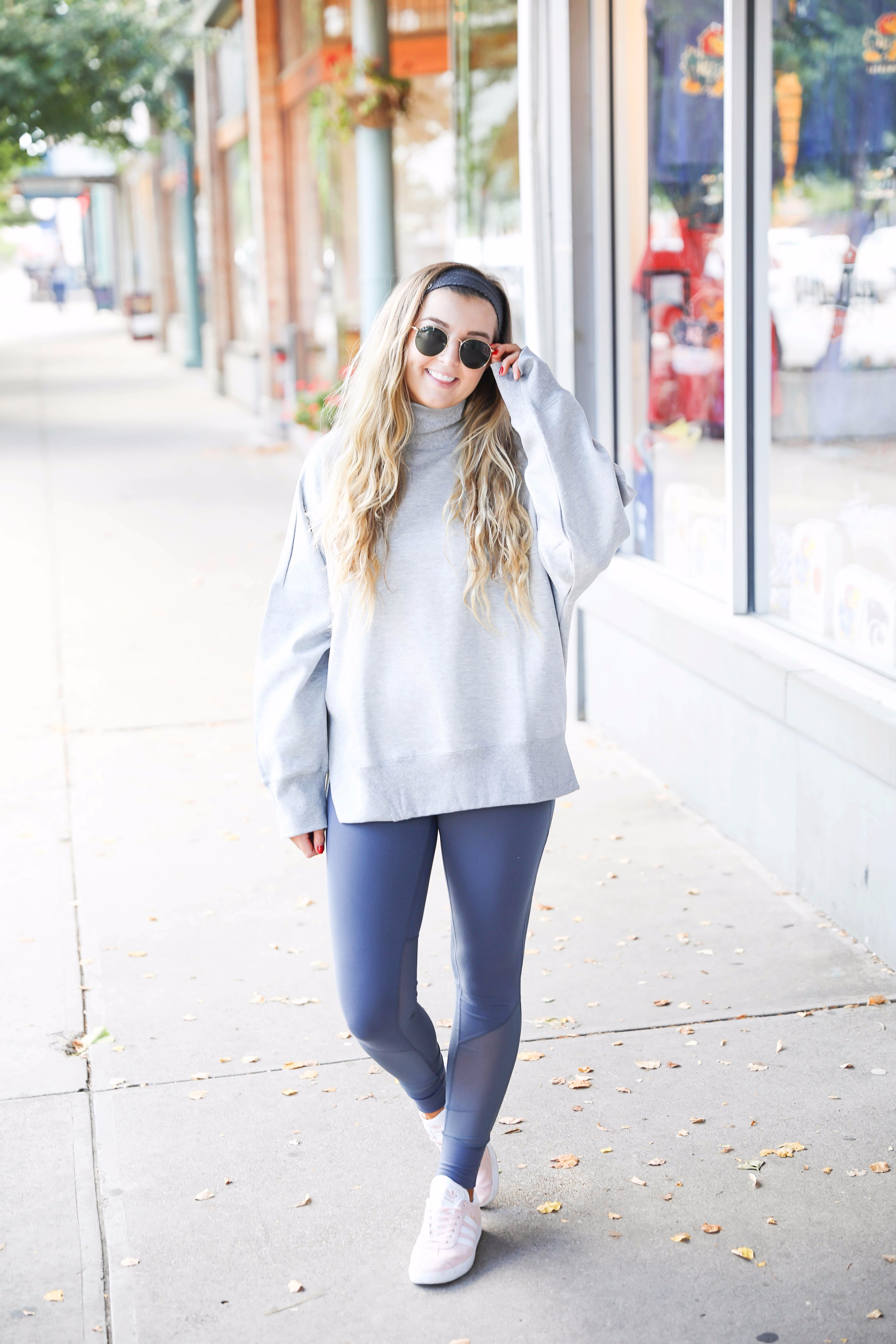 Adidas sweatshirt and zella leggings cute athleisure look on fashion blog daily dose of charm by lauren lindmark