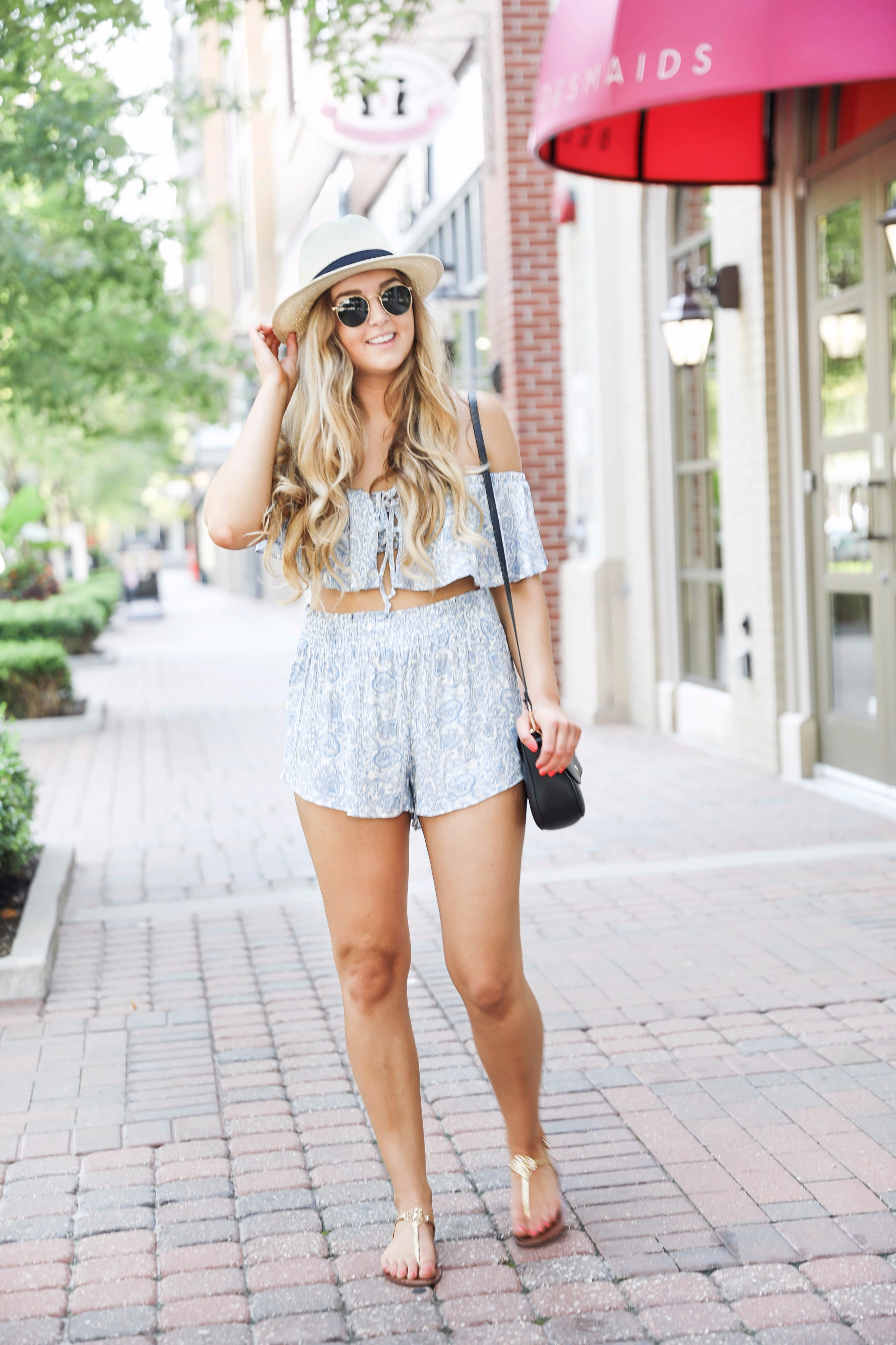 Blue flowy two piece outfit perfect for casual summer days or nights out! I love two piece outfits, this one is so fun and inexpensive! Find the details on fashion blog daily dose of charm by lauren lindmark