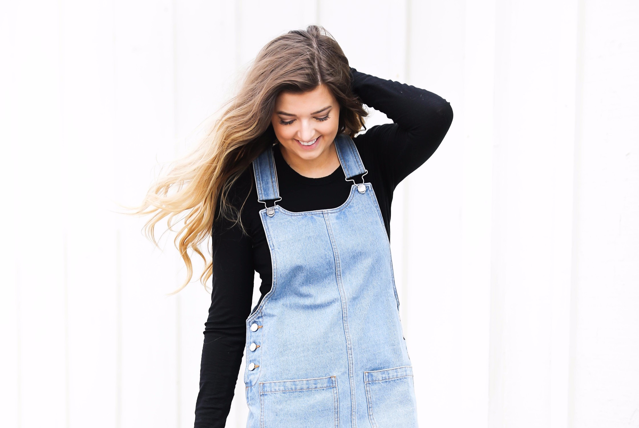 Overall dress and black floppy hat and black booties on fashion blog daily dose of charm by lauren lindmark 4P6A7303.jpg