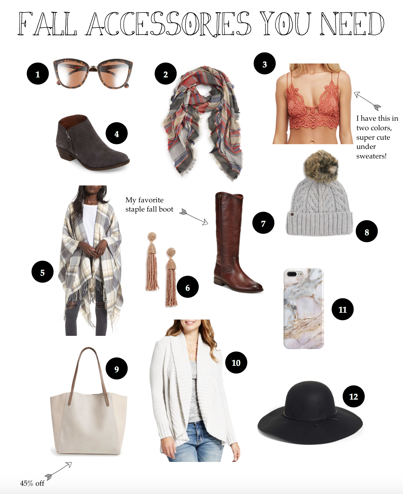Fall accessories you need! My favorite scarves, sweaters, hats, boots, and more on fashion blog daily dose of charm by lauren Lindmark