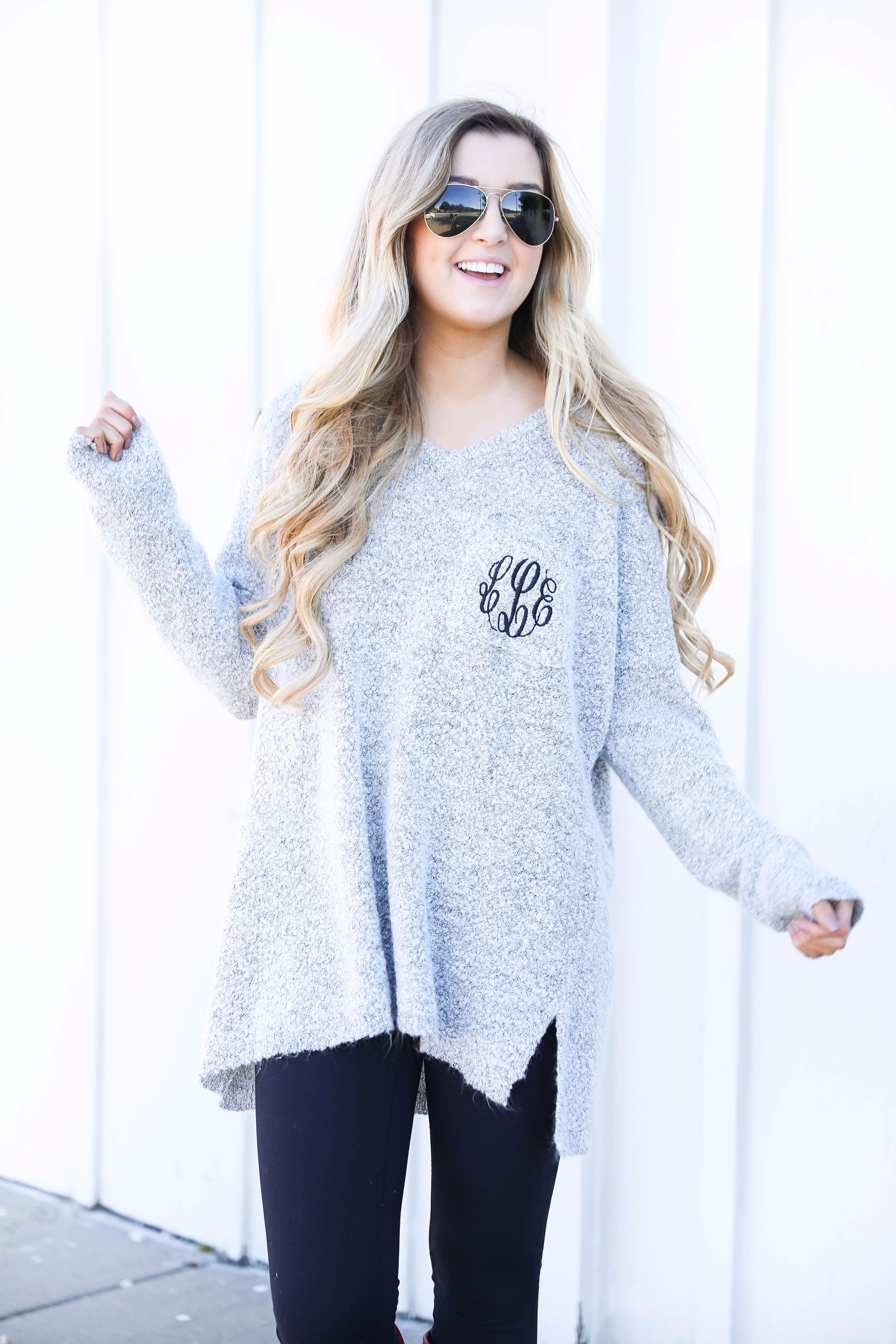 How to tie blanket scarves! This cute Marley Lilly Monogrammed Boyfriend Sweater and ilymix scarf make for the cutest fall outfit! Find all the details on fashion blog daily dose of charm by Lauren Lindmark