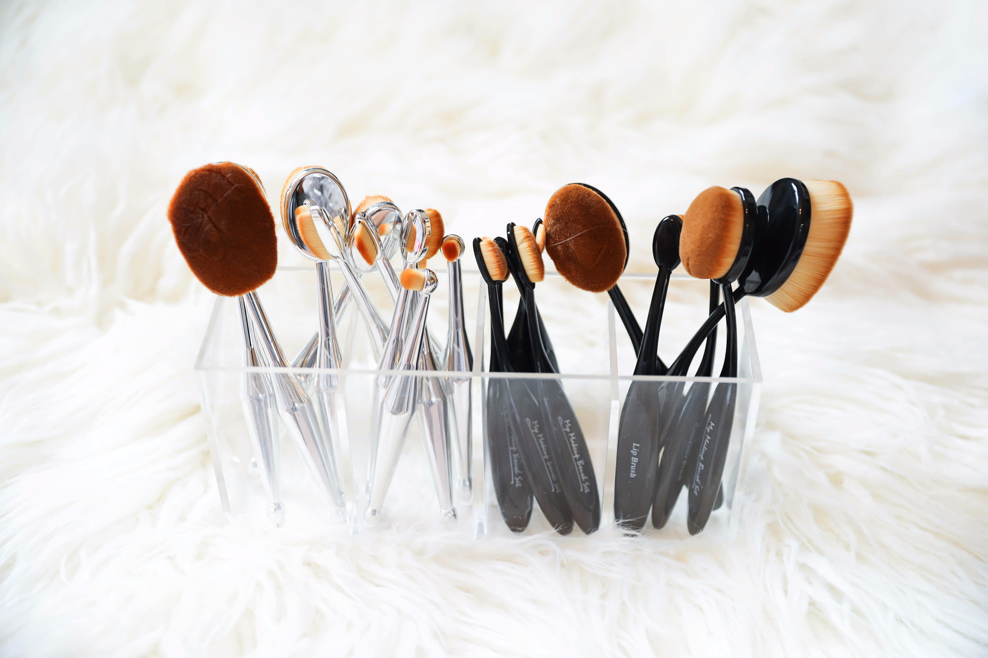 October beauty favorites! Mikas Beauty round makeup brushes! Beauty flatlay! Details on daily dose of charm by lauren lindmark