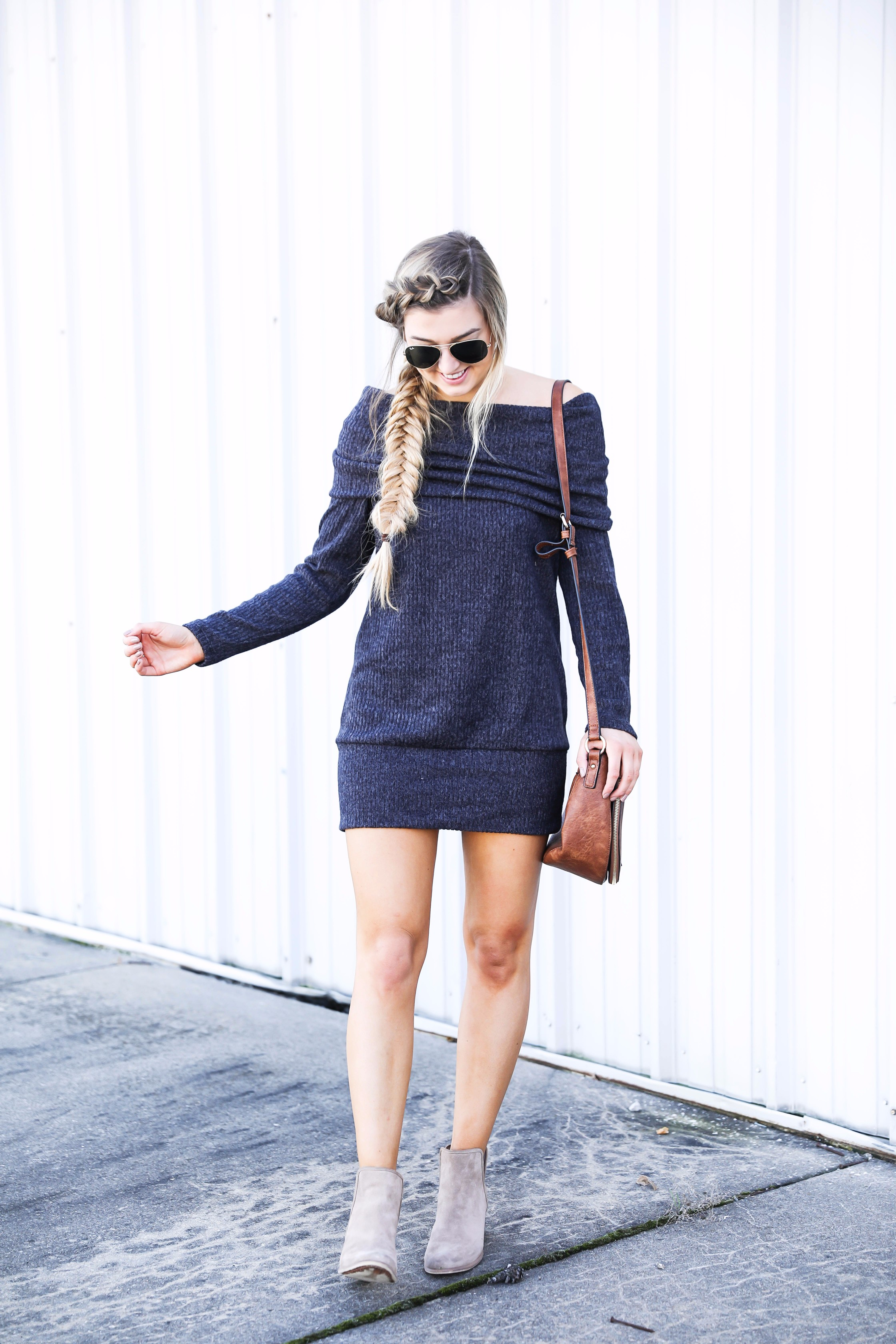 Off the shoulder sweater dress from BooHoo! Seriously the softest sweater ever! Get the details on fashion blog daily dose of charm by lauren lindmark