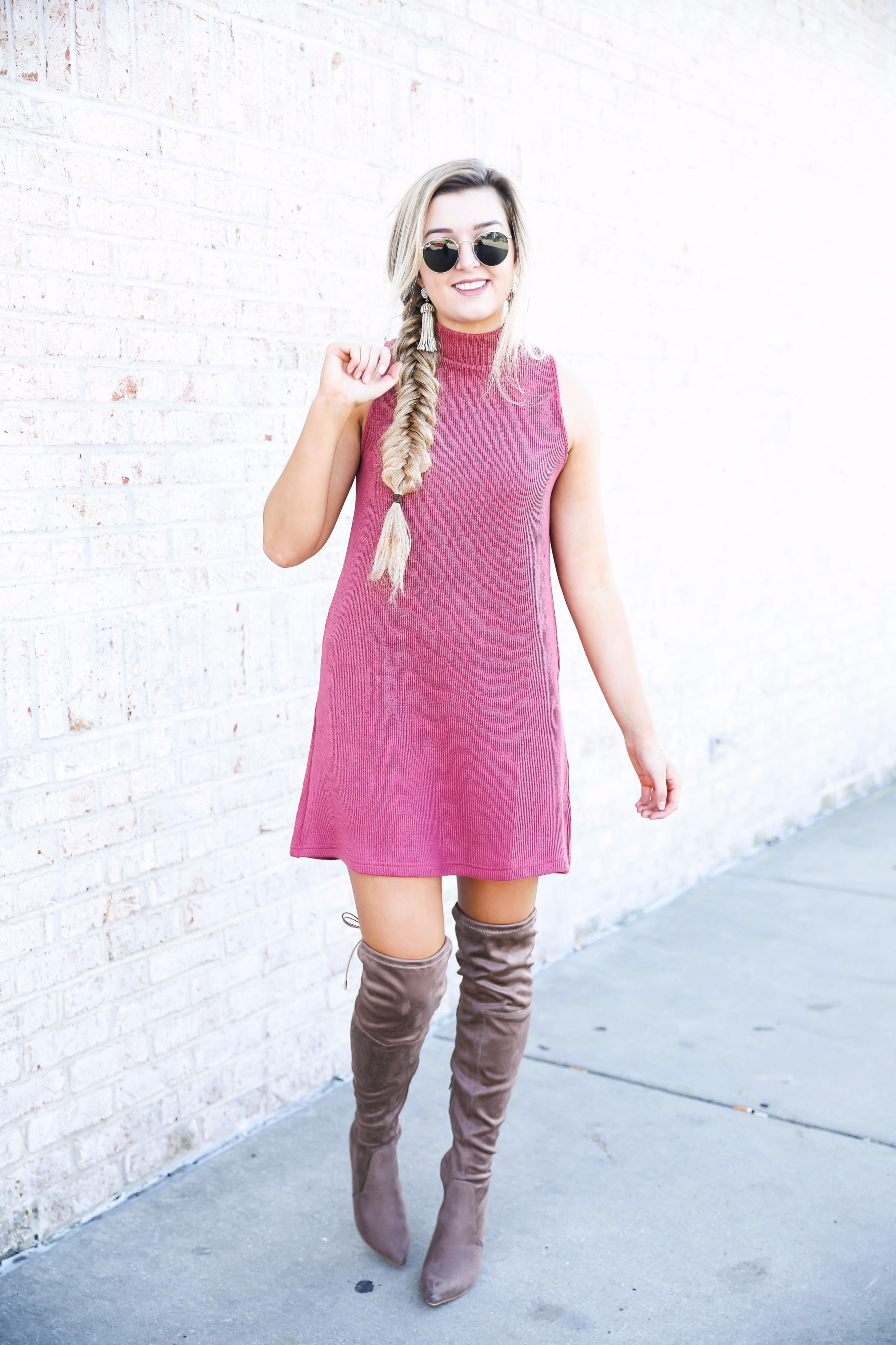 Red Dress Boutique sweater dress paired with suede over the knee boots! Cutest fall look on fashion blog daily dose of charm by lauren lindmark