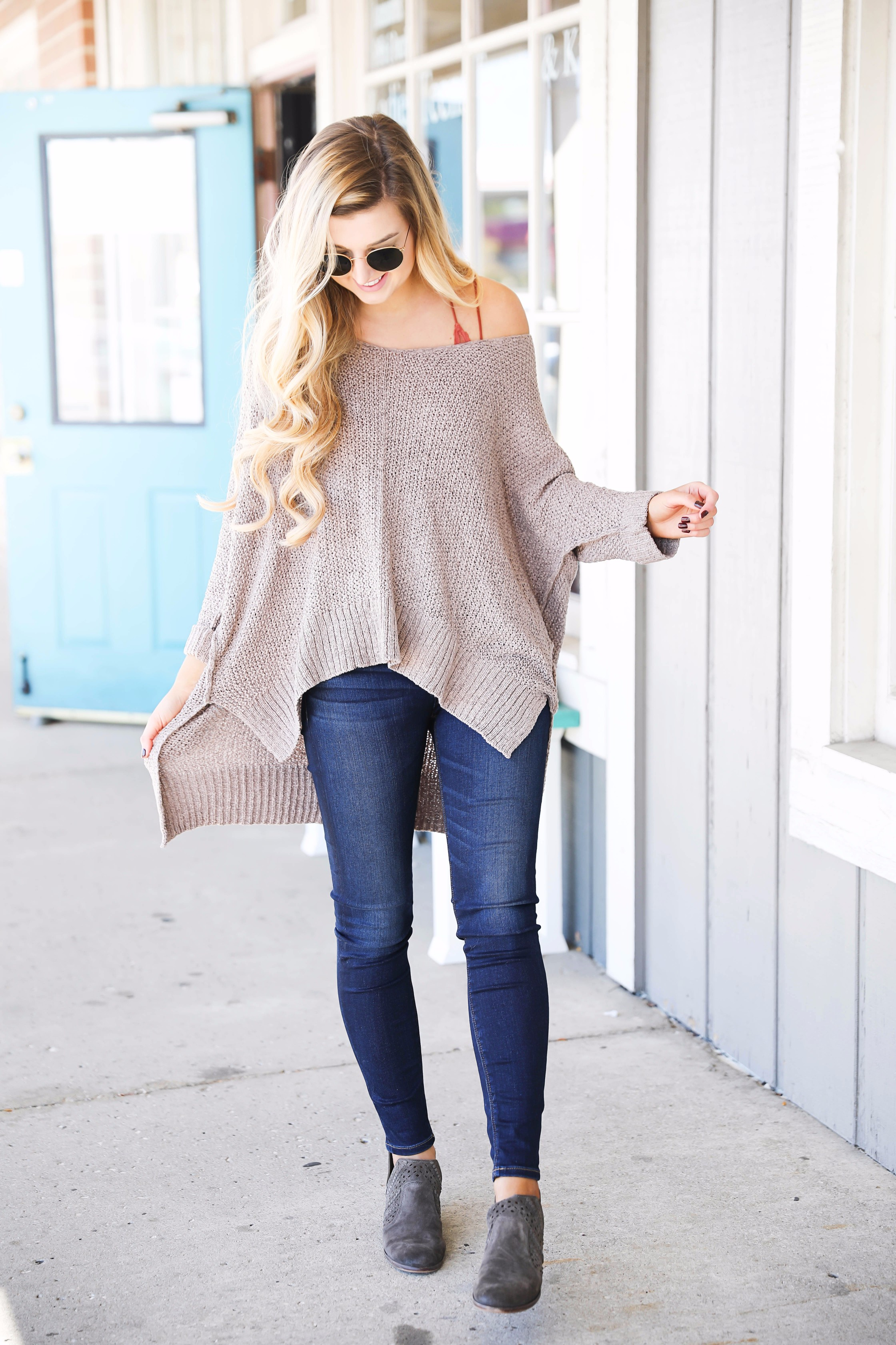 d363a2318d Slouchy off the shoulder sweater with a lace free people bralette! Super  cute fall outfit ...