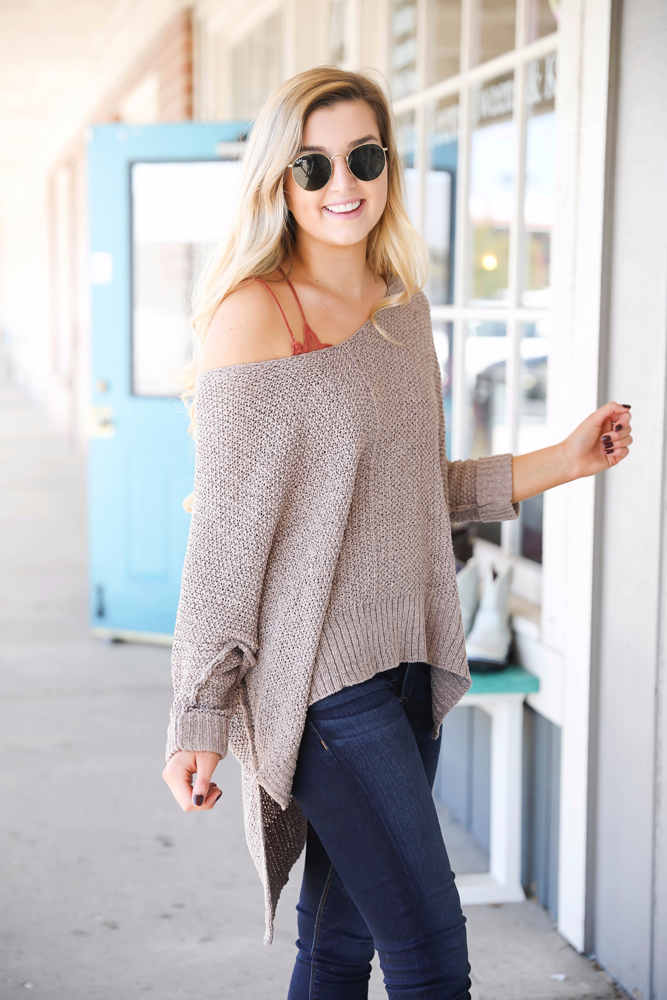 371ebf2628 Super cute fall outfit Slouchy off the shoulder sweater with a lace free  people bralette!